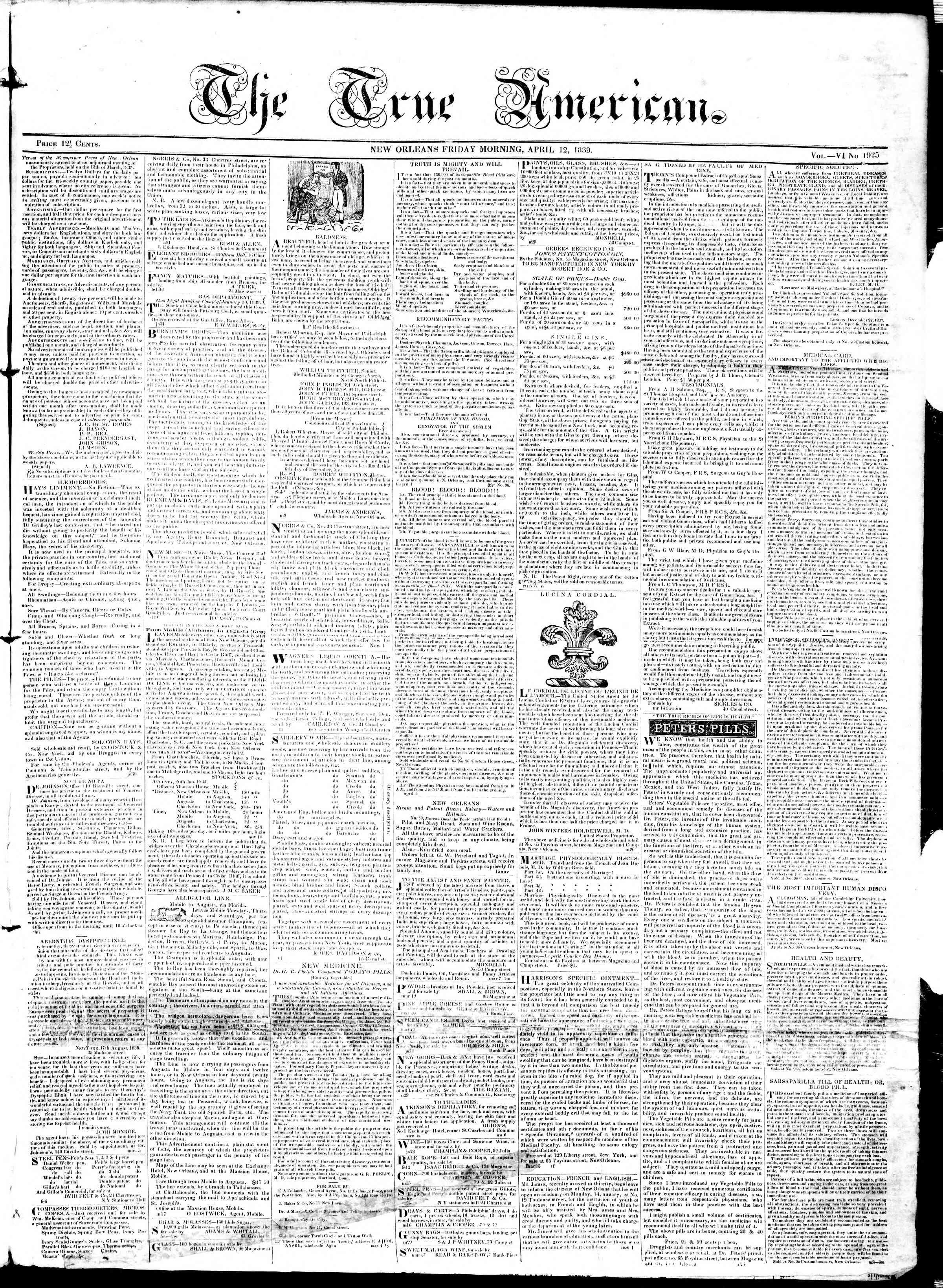 April 12, 1839 Tarihli True American Gazetesi Sayfa 1