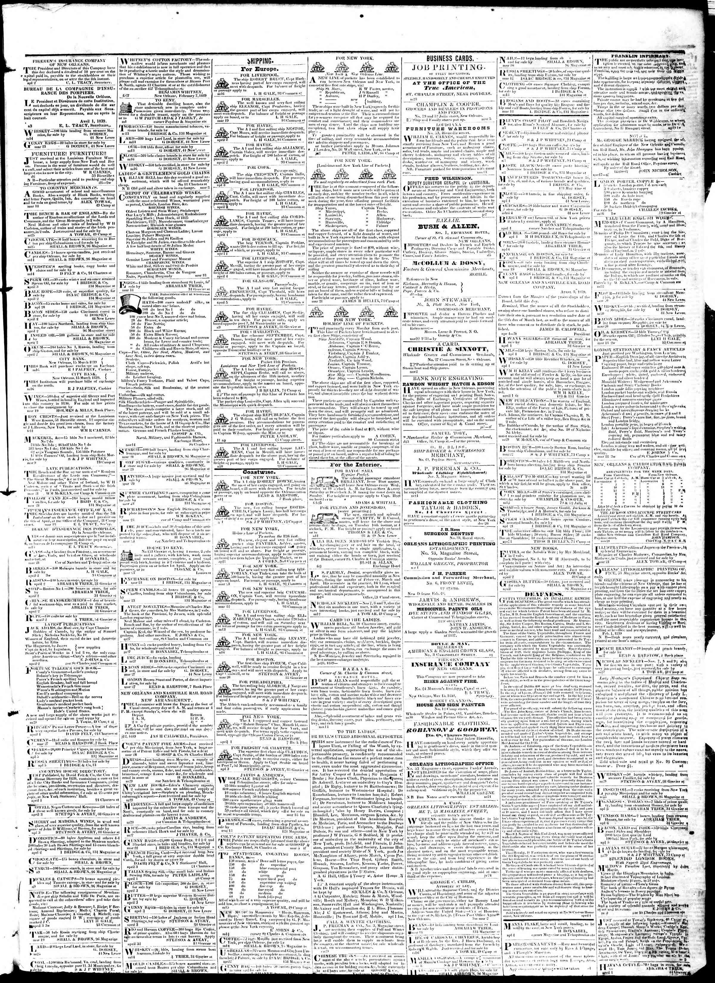 April 12, 1839 Tarihli True American Gazetesi Sayfa 3