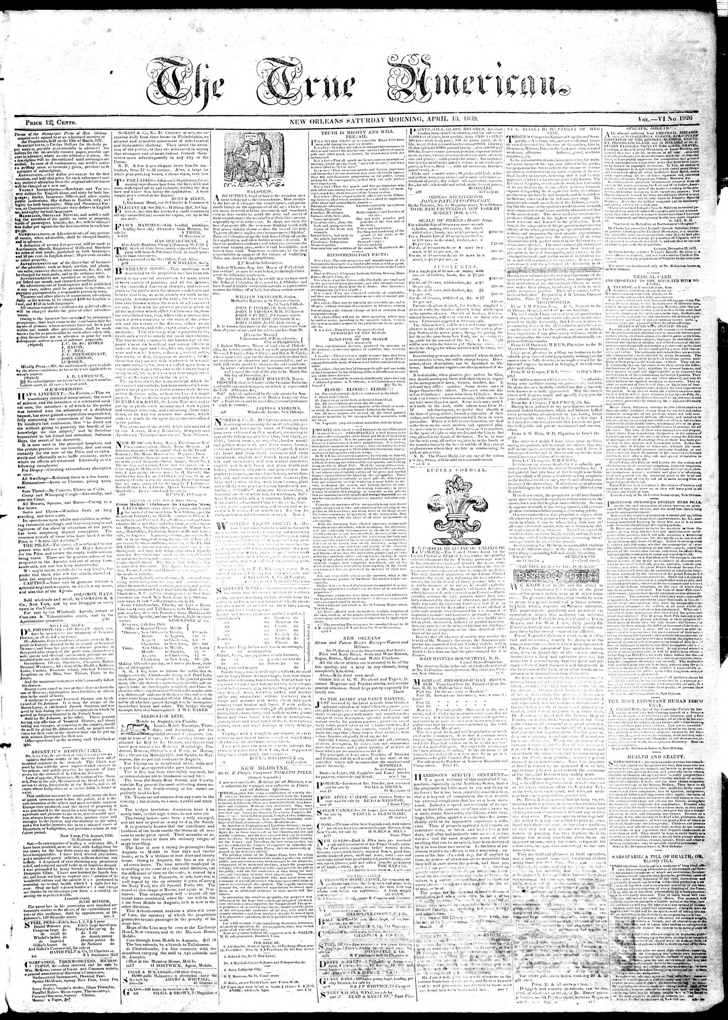 Newspaper of True American dated April 13, 1839 Page 1