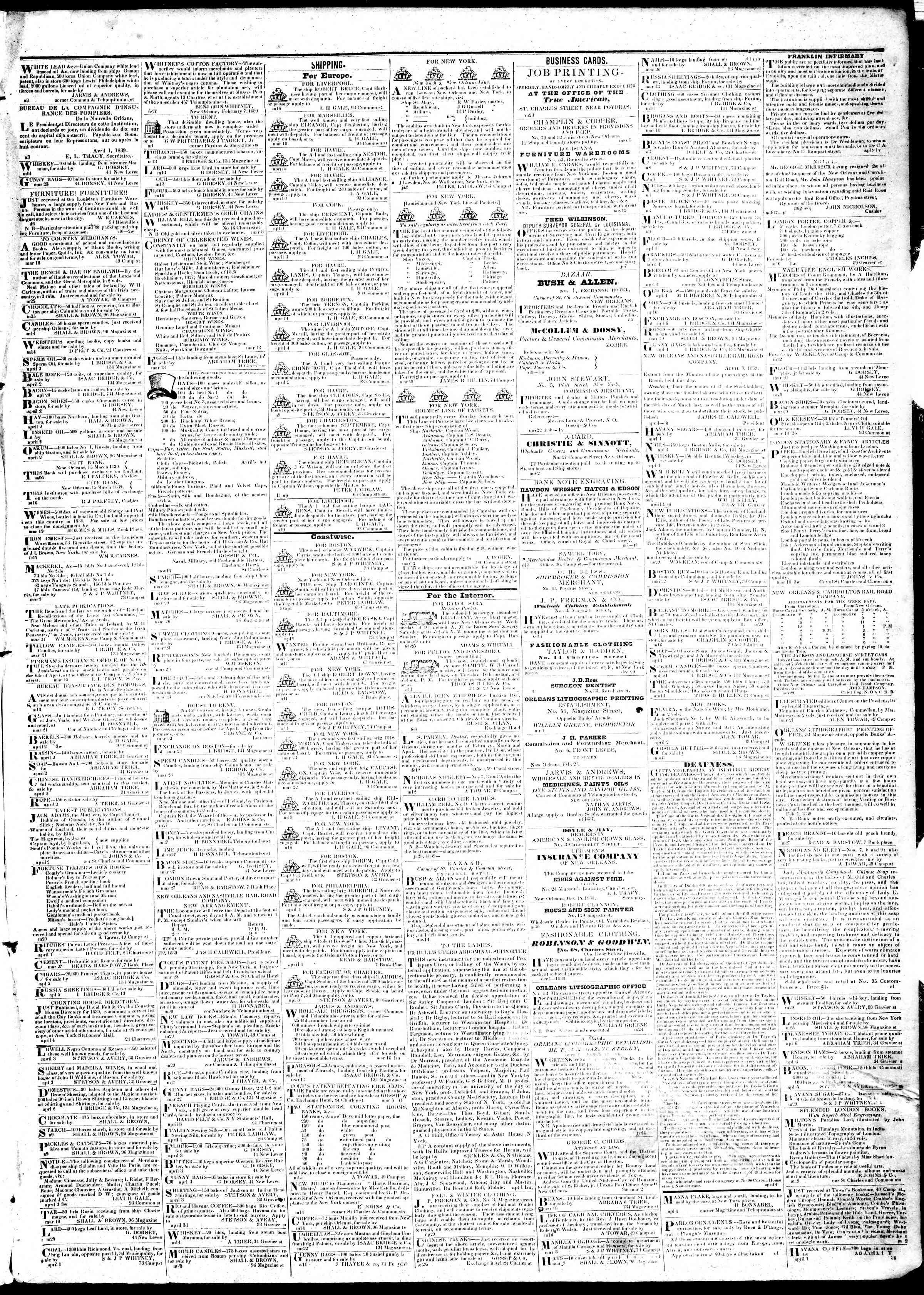April 13, 1839 Tarihli True American Gazetesi Sayfa 3