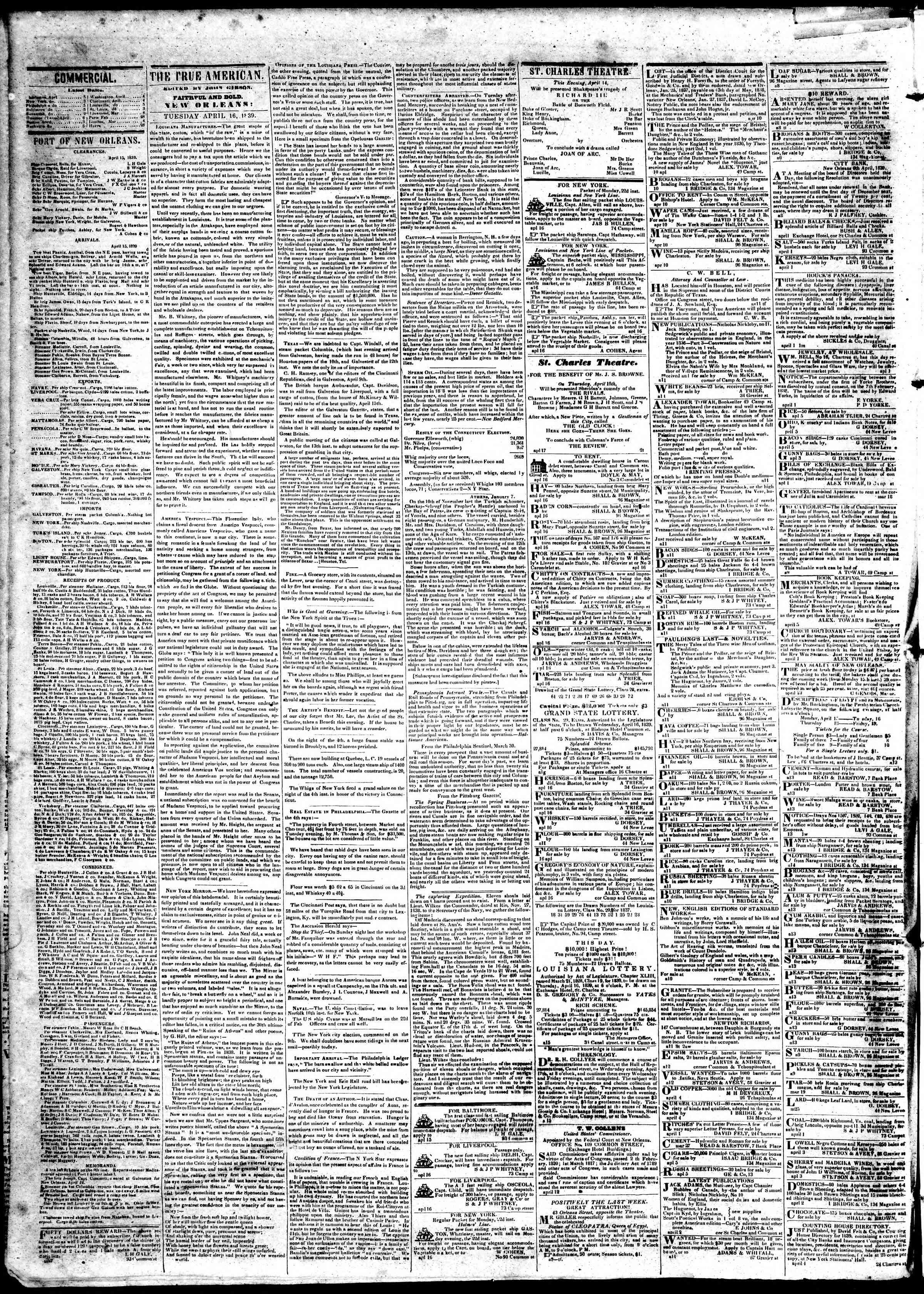 April 16, 1839 Tarihli True American Gazetesi Sayfa 2