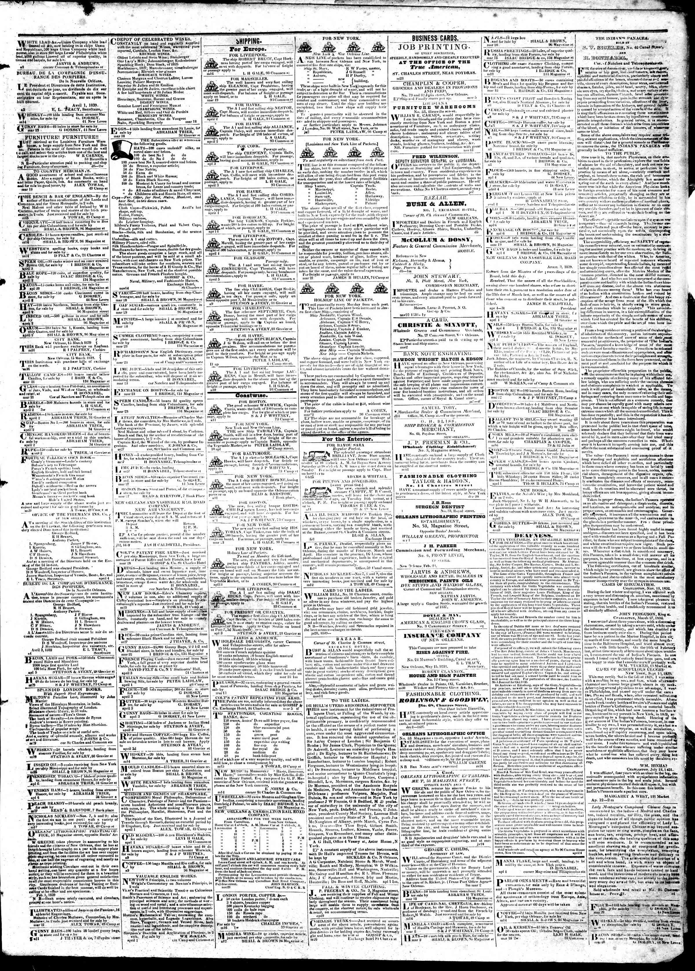 April 16, 1839 Tarihli True American Gazetesi Sayfa 3