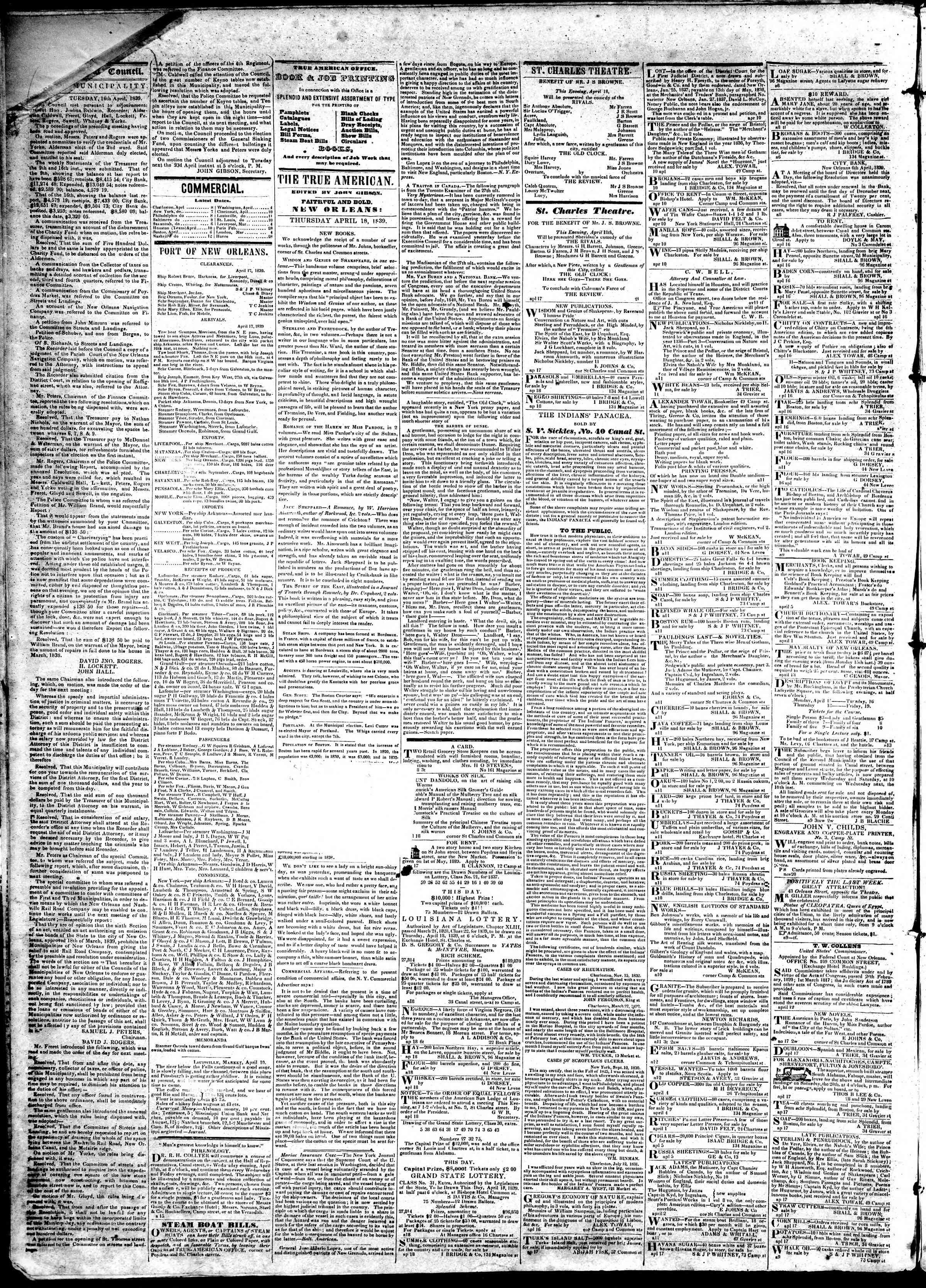 April 18, 1839 Tarihli True American Gazetesi Sayfa 2