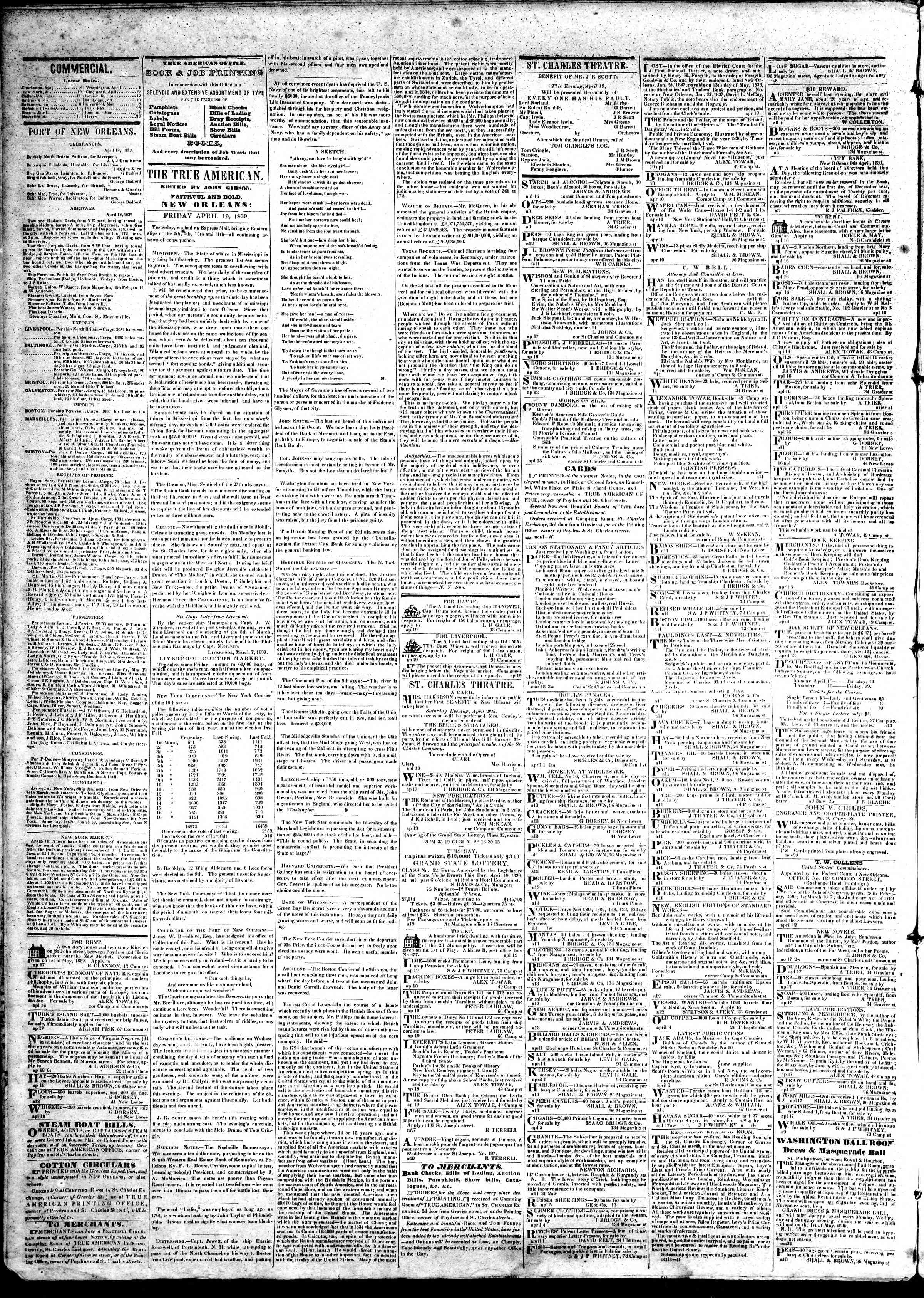 April 19, 1839 Tarihli True American Gazetesi Sayfa 2