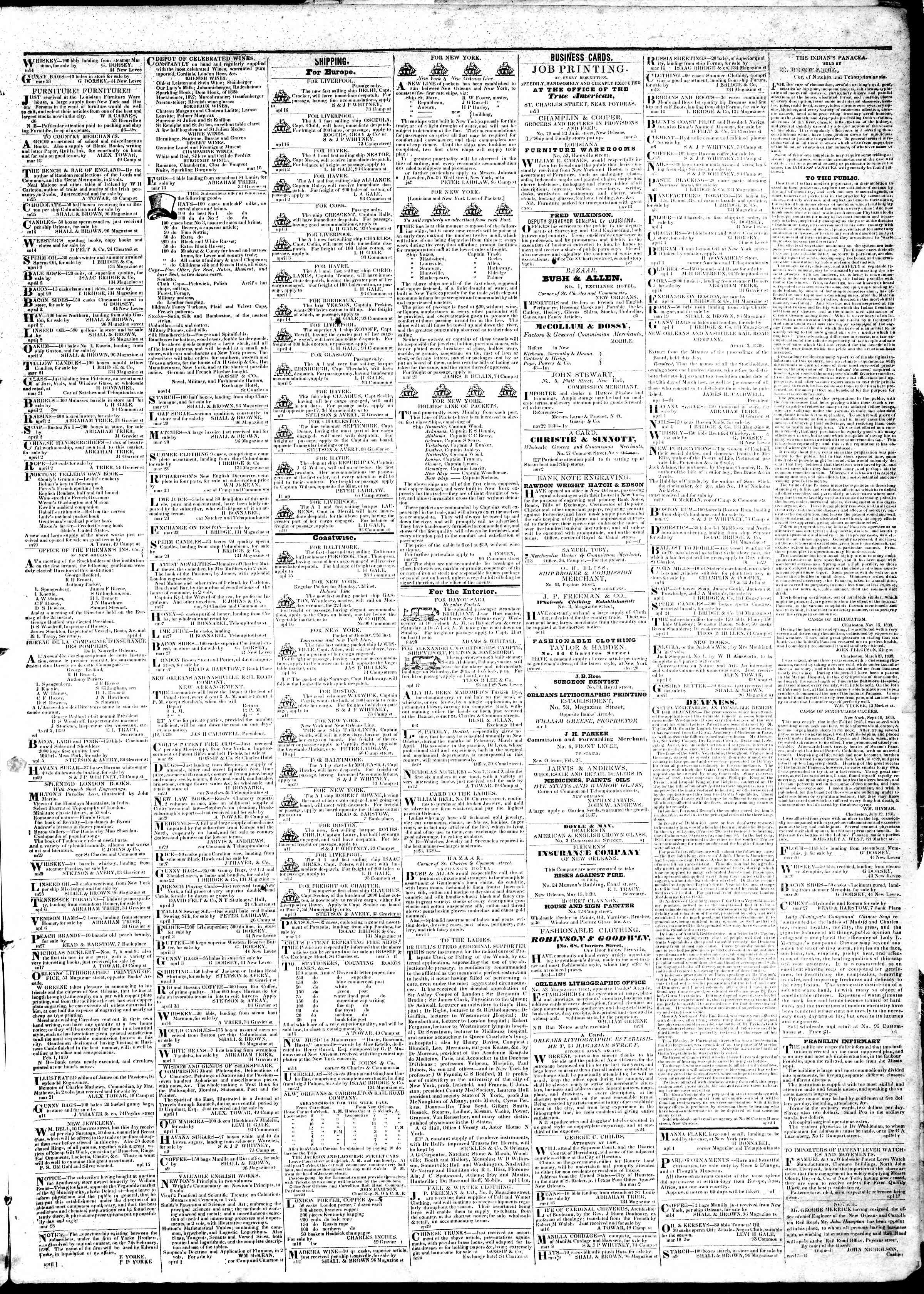 Newspaper of True American dated April 19, 1839 Page 3