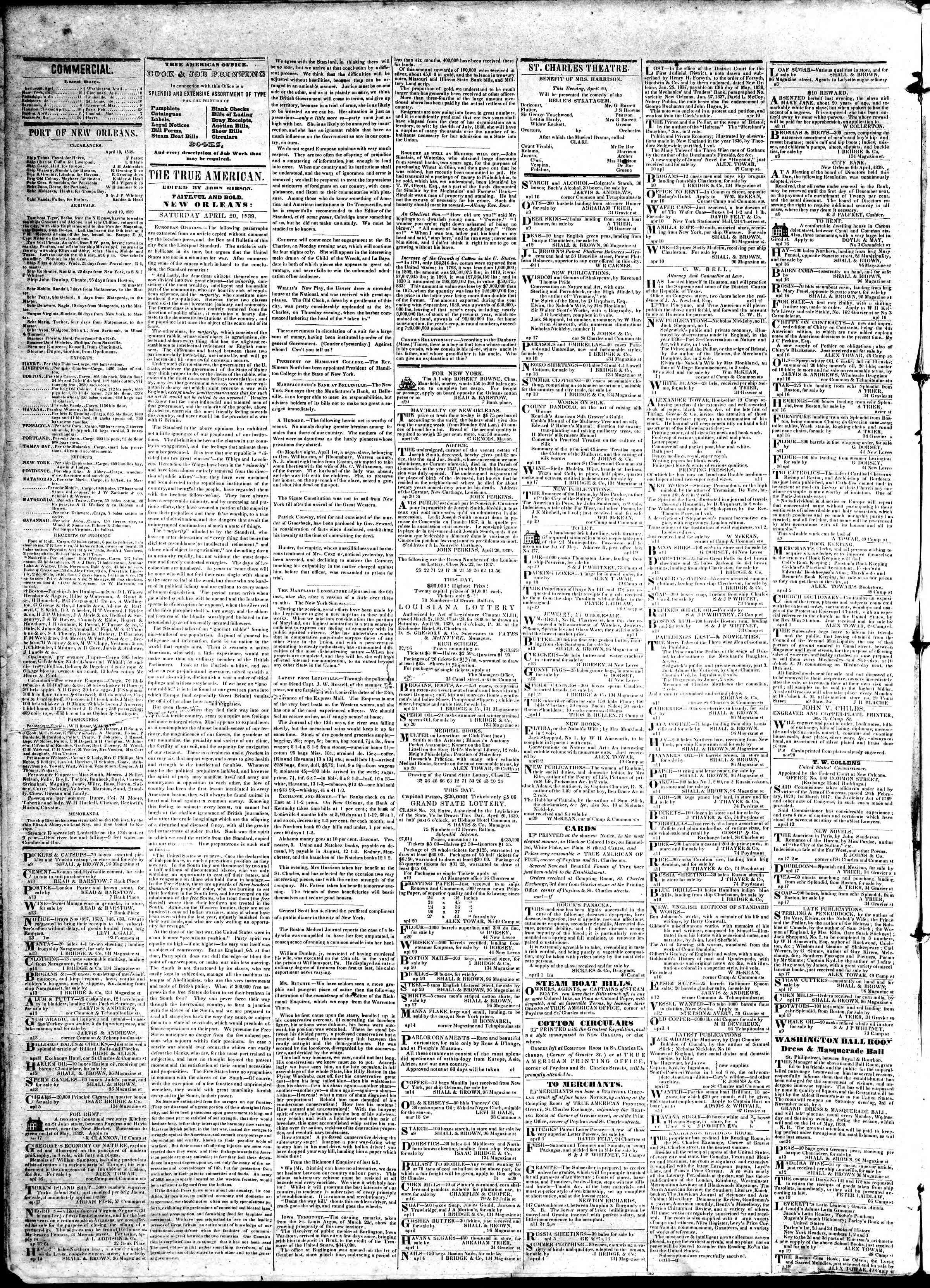 April 20, 1839 Tarihli True American Gazetesi Sayfa 2