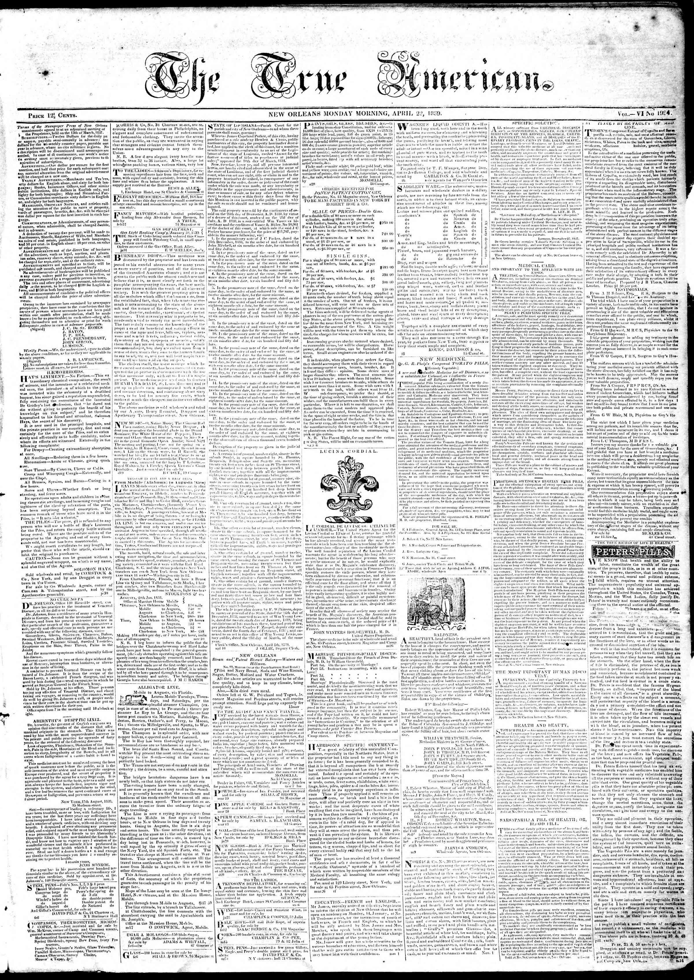 April 22, 1839 Tarihli True American Gazetesi Sayfa 1