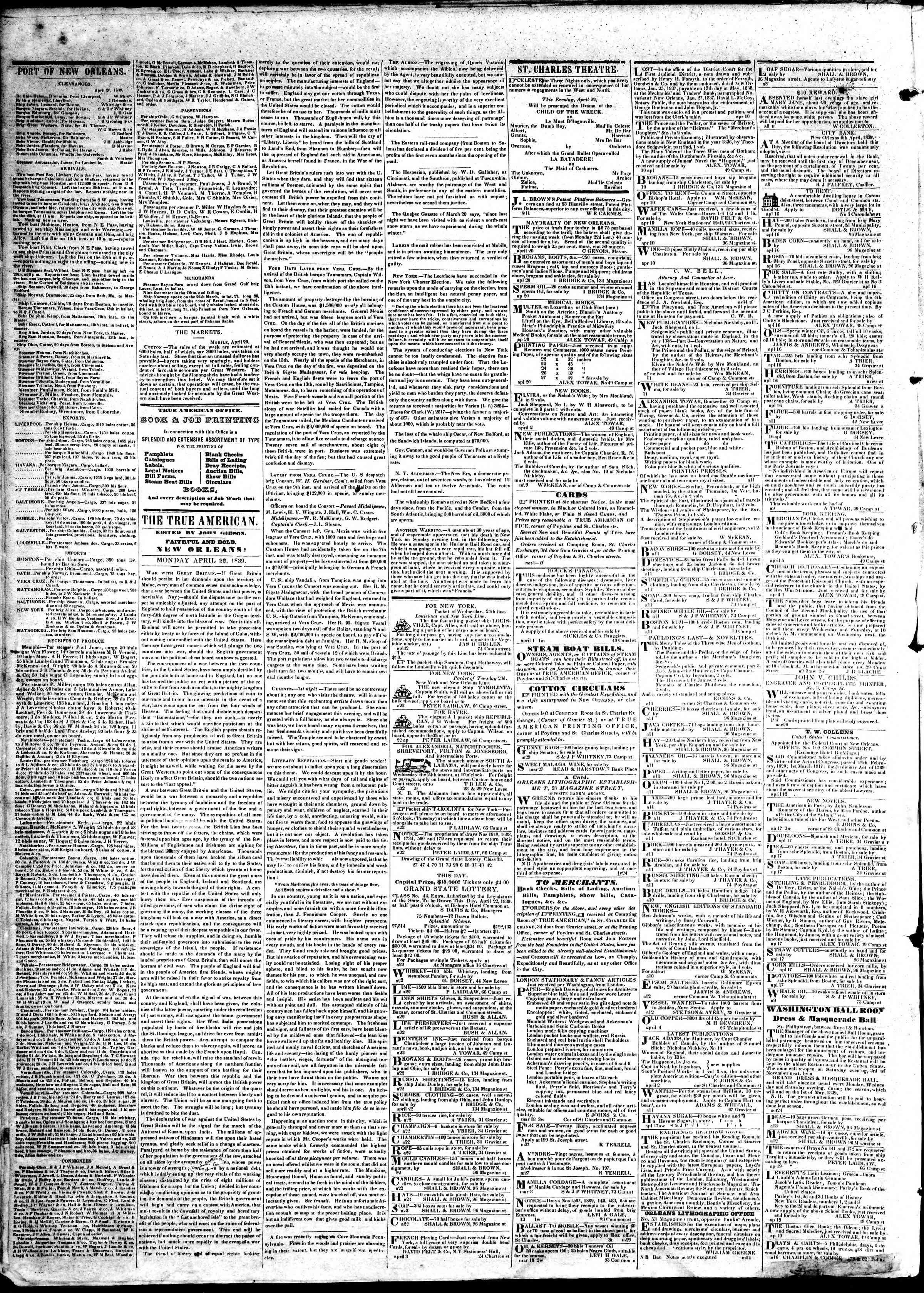 April 22, 1839 Tarihli True American Gazetesi Sayfa 2