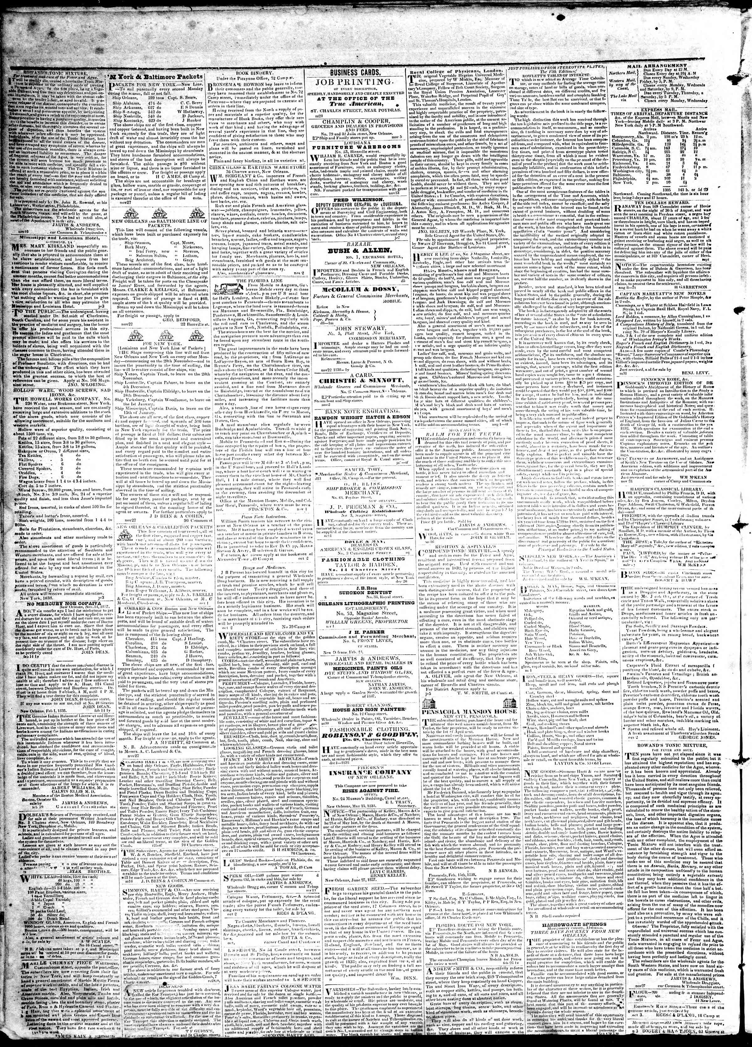 Newspaper of True American dated April 22, 1839 Page 4