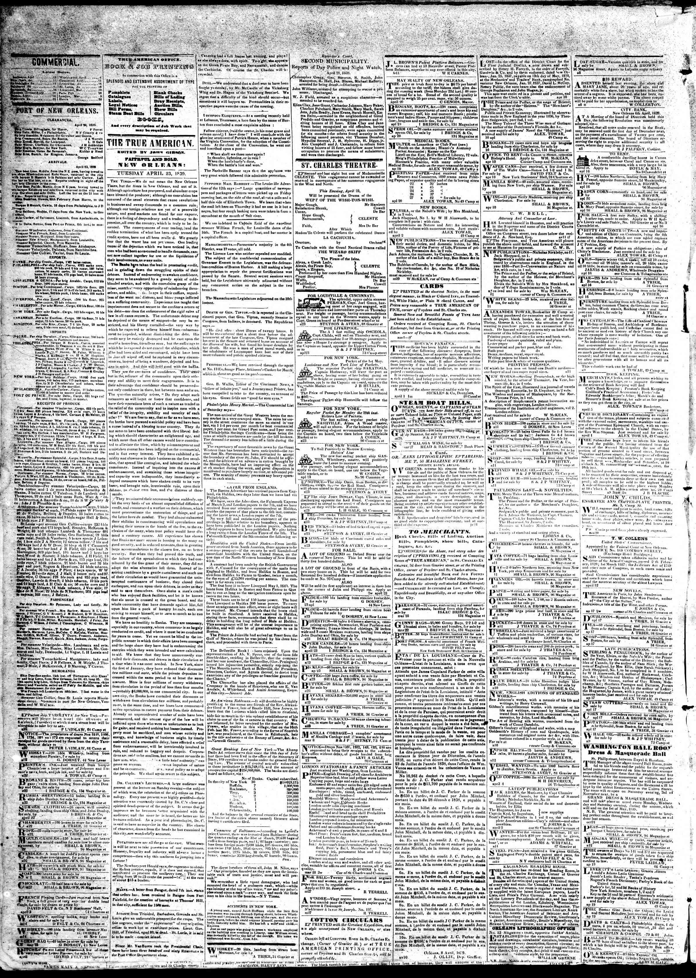April 23, 1839 Tarihli True American Gazetesi Sayfa 2
