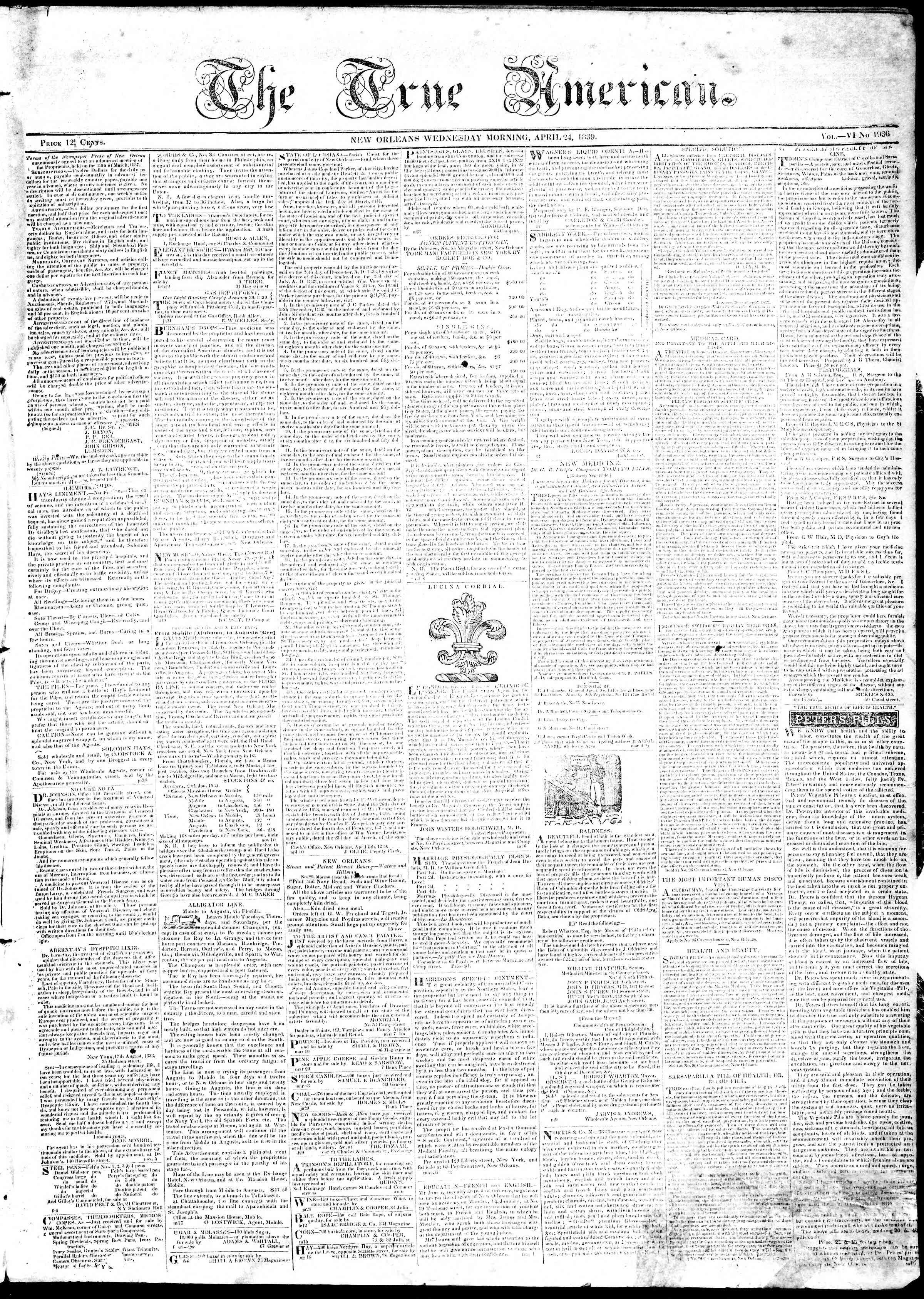 April 24, 1839 Tarihli True American Gazetesi Sayfa 1