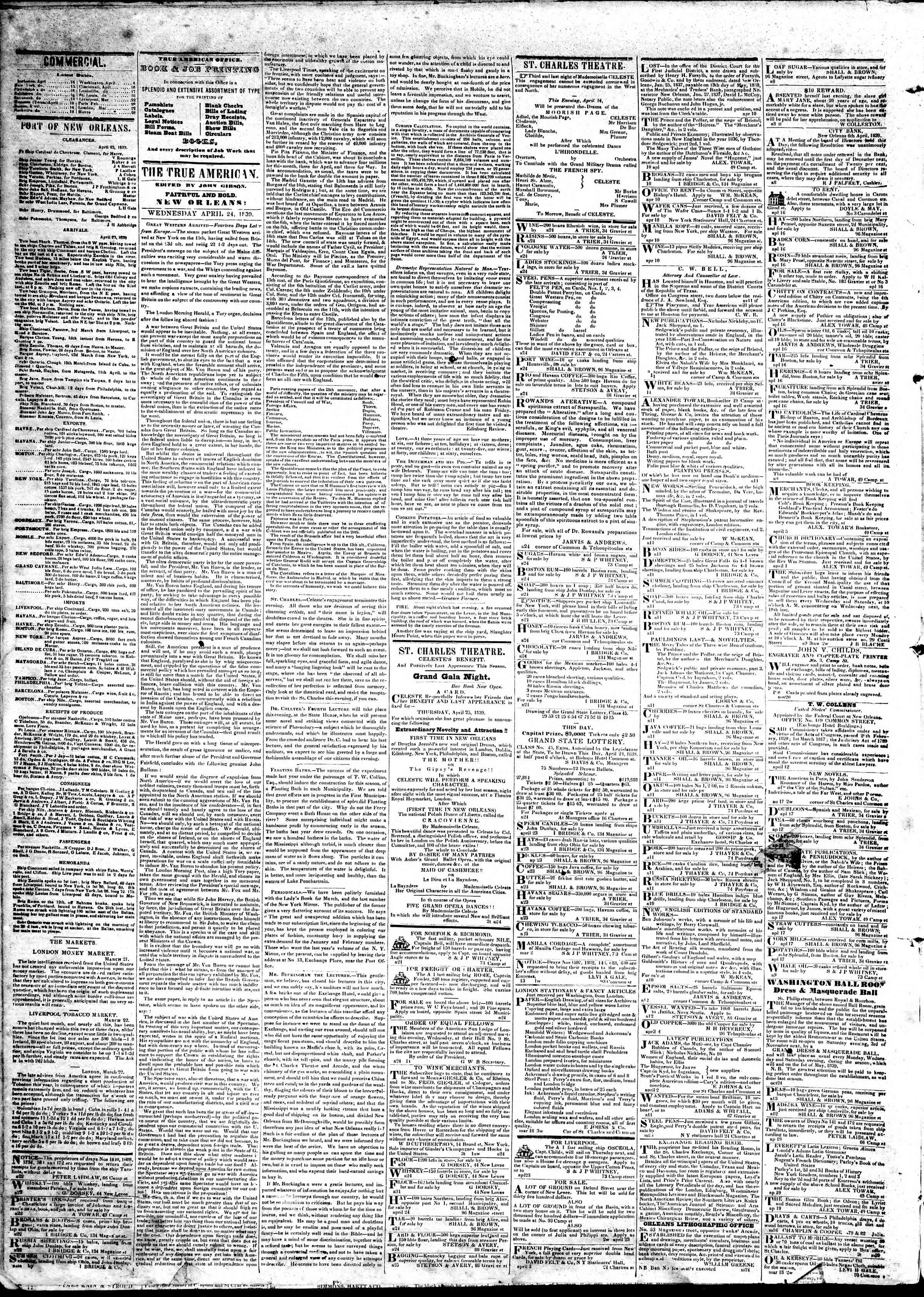 Newspaper of True American dated April 24, 1839 Page 2