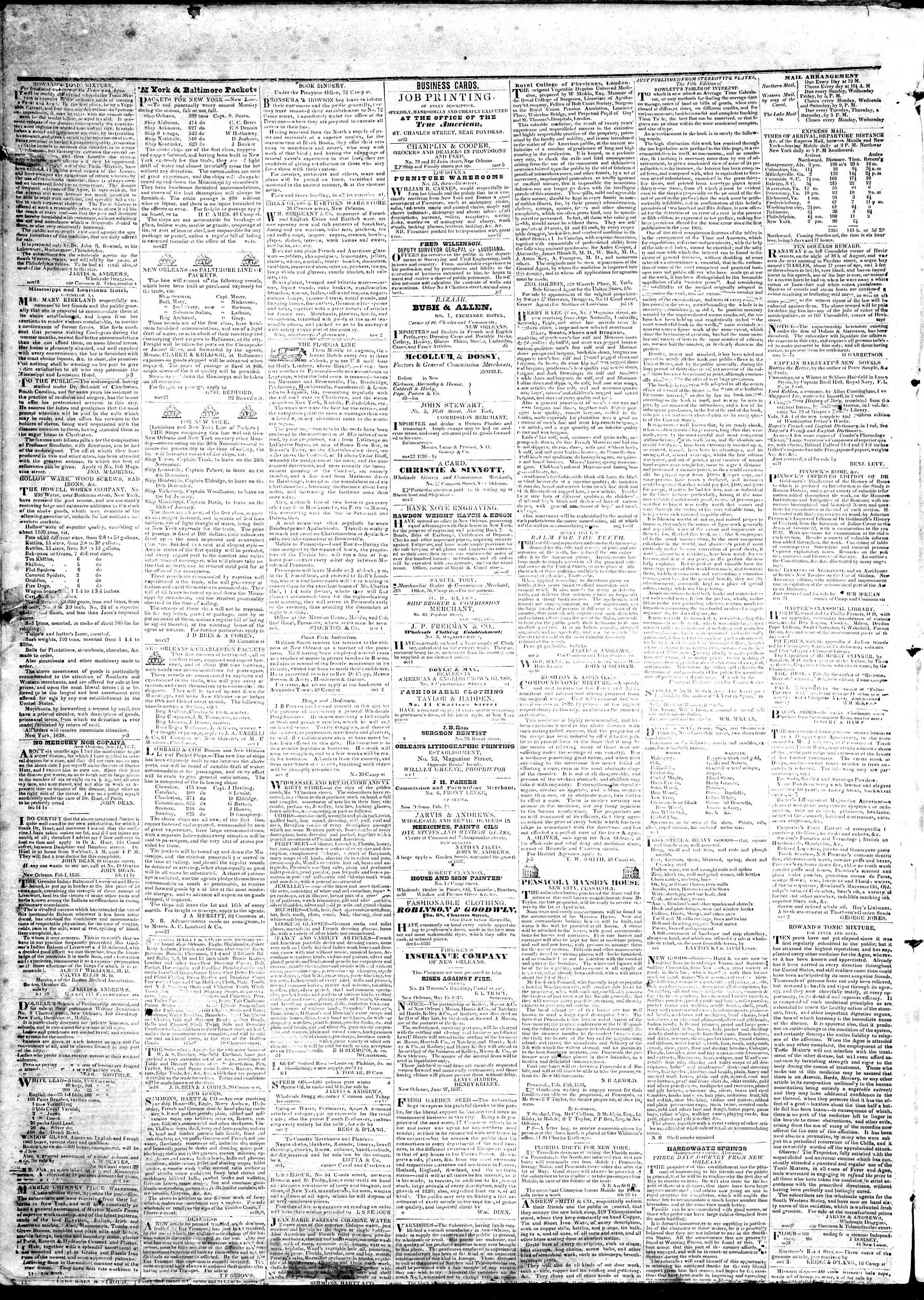 Newspaper of True American dated April 24, 1839 Page 4