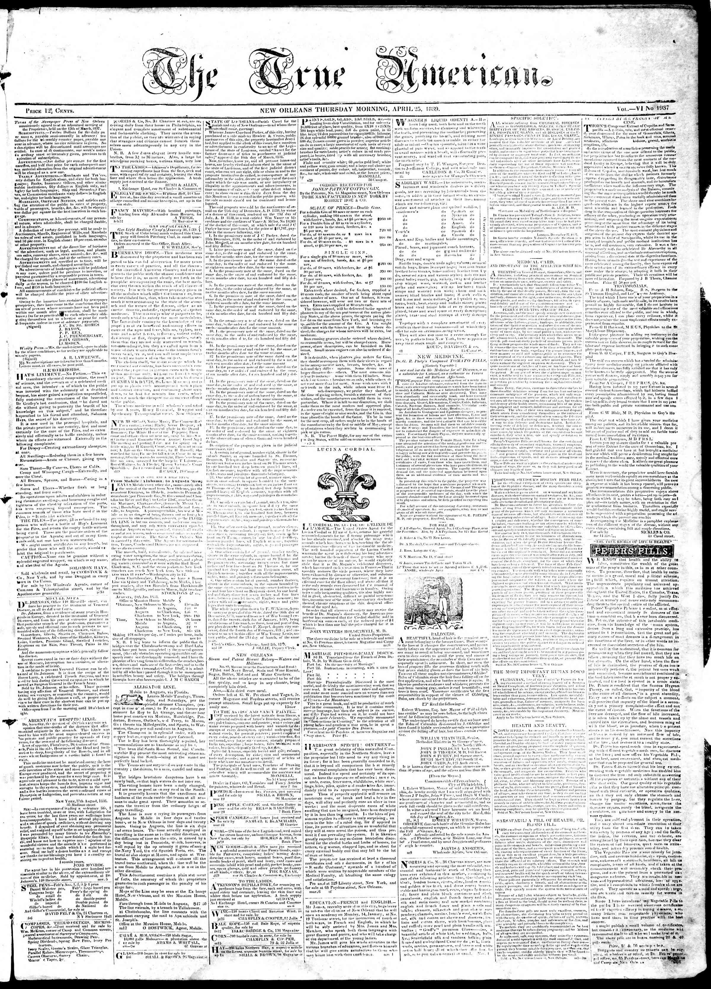 April 25, 1839 Tarihli True American Gazetesi Sayfa 1
