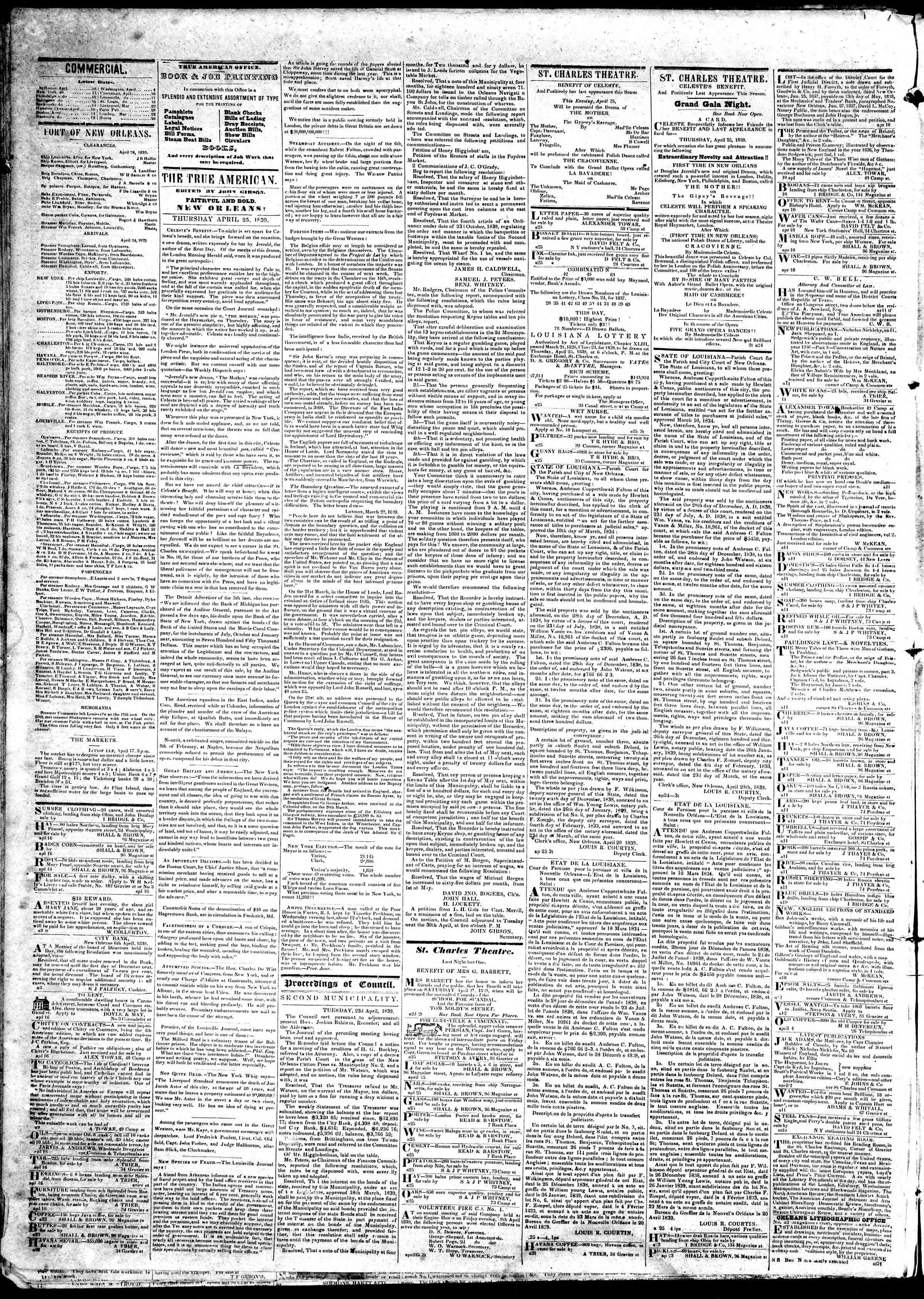 April 25, 1839 Tarihli True American Gazetesi Sayfa 2