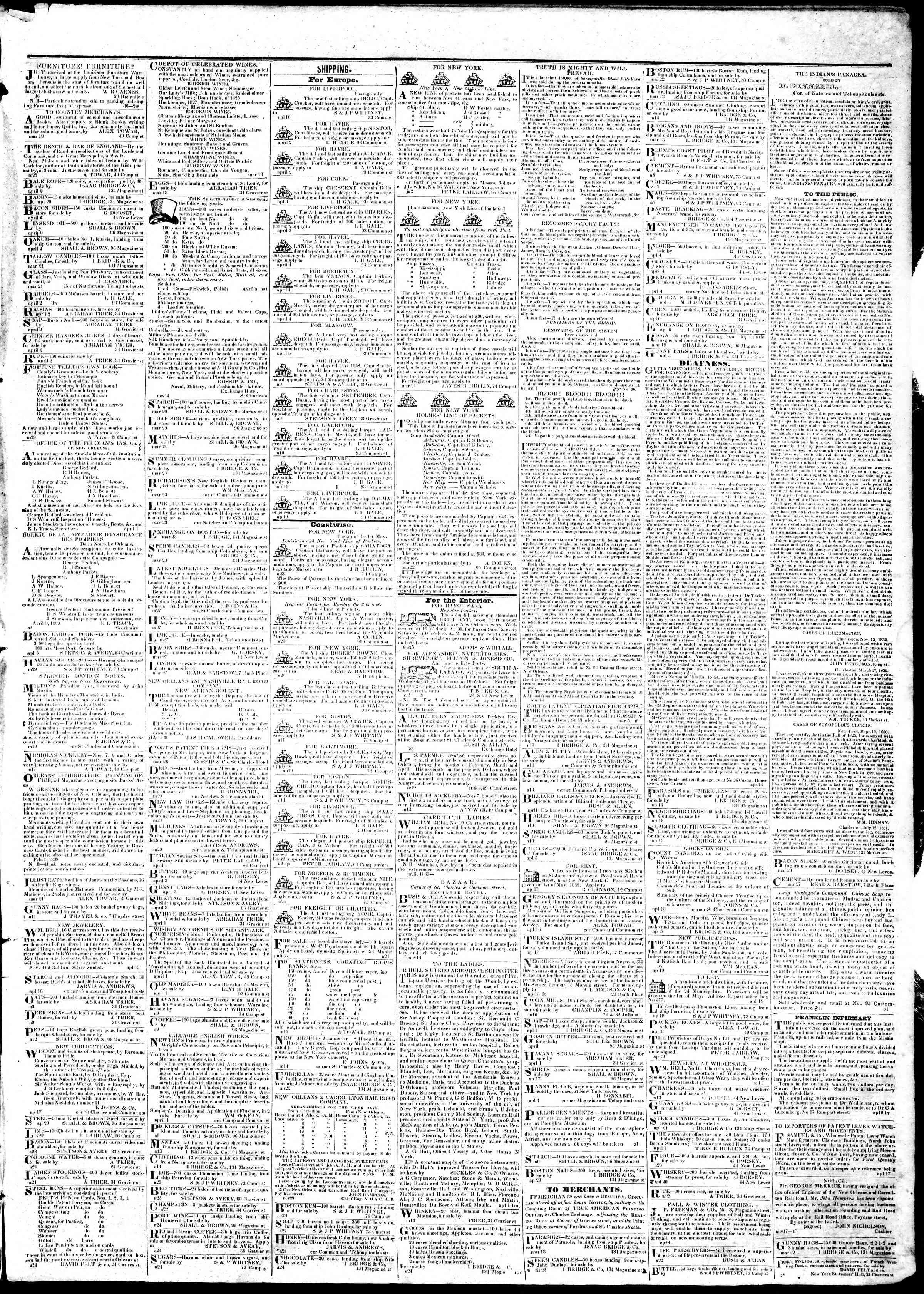 April 25, 1839 Tarihli True American Gazetesi Sayfa 3