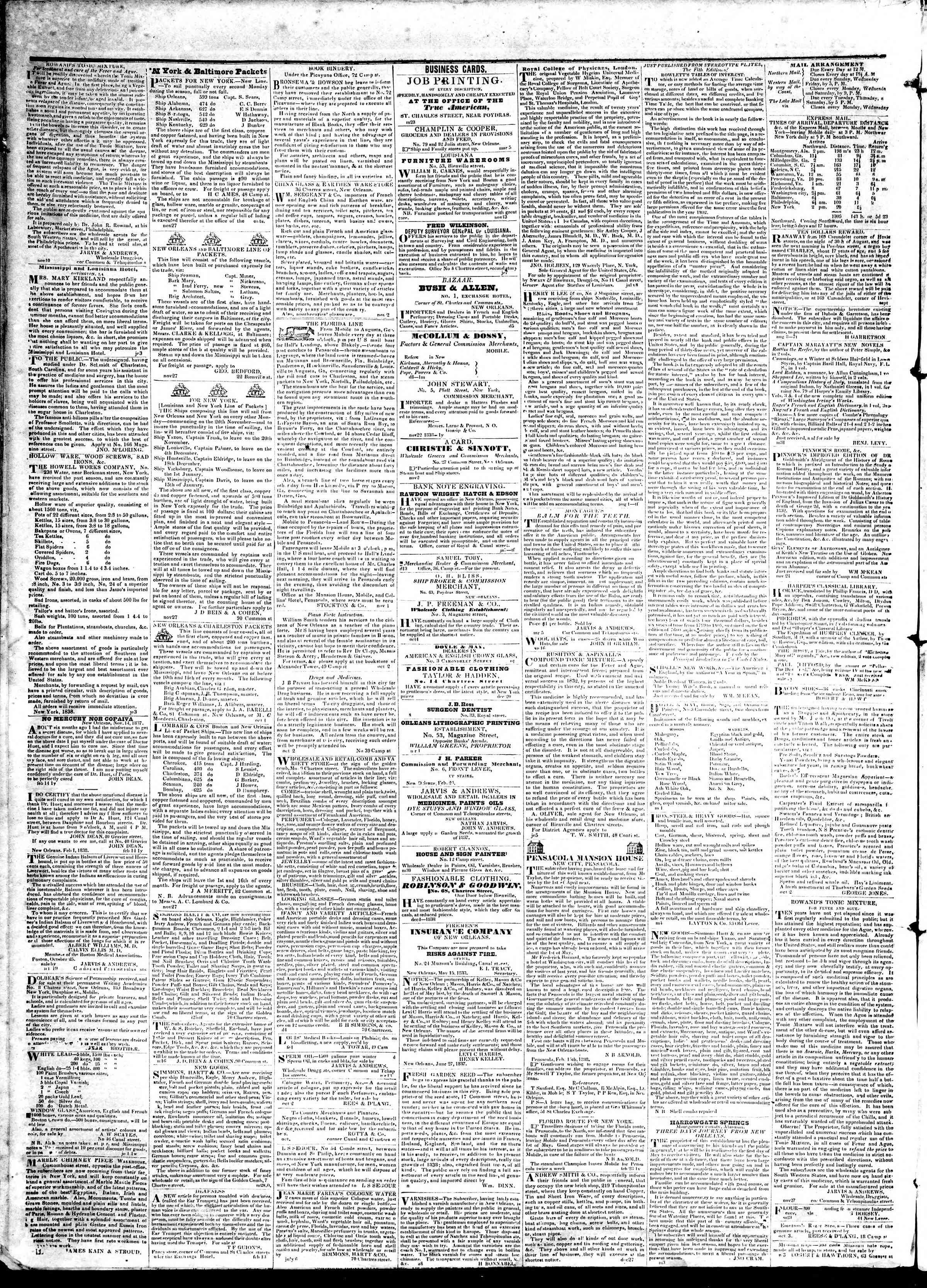 25 Nisan 1839 tarihli True American Gazetesi Sayfa 4