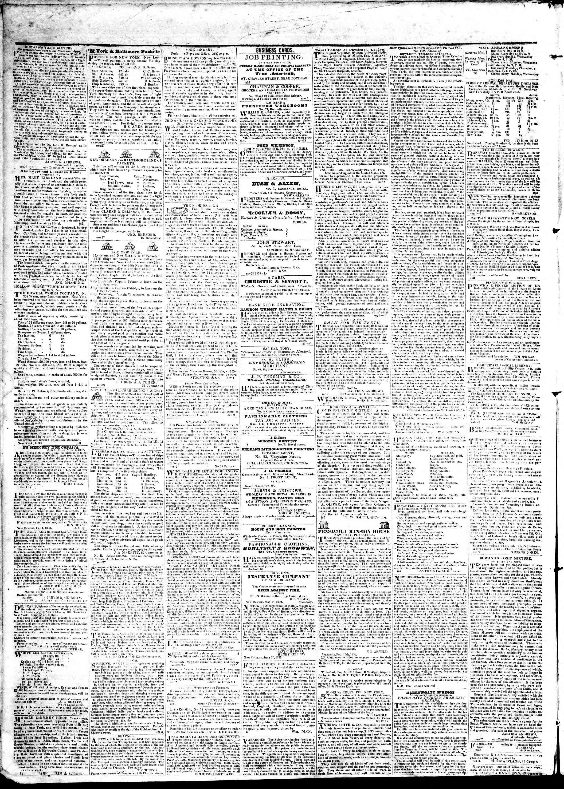 April 26, 1839 Tarihli True American Gazetesi Sayfa 4