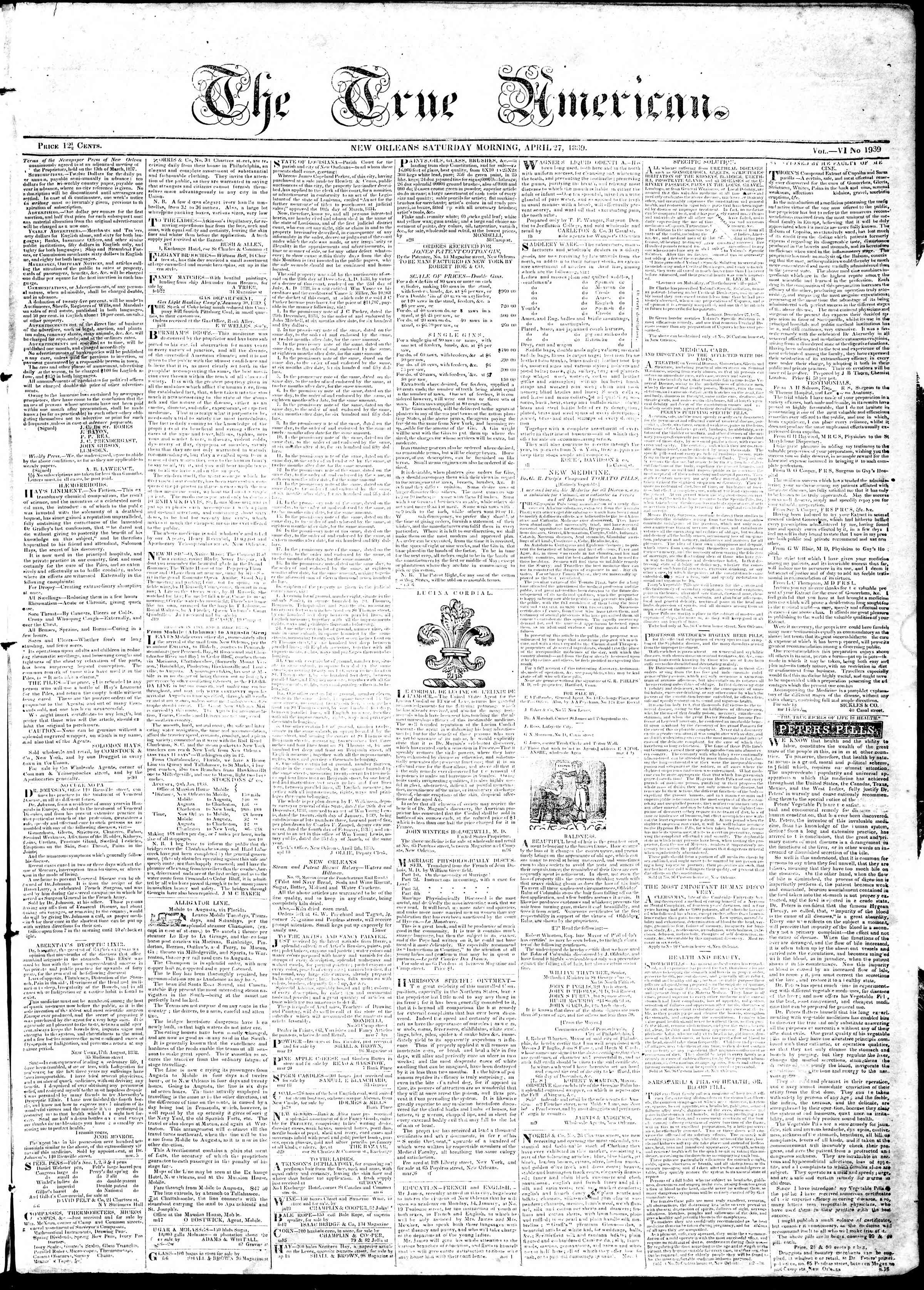 April 27, 1839 Tarihli True American Gazetesi Sayfa 1
