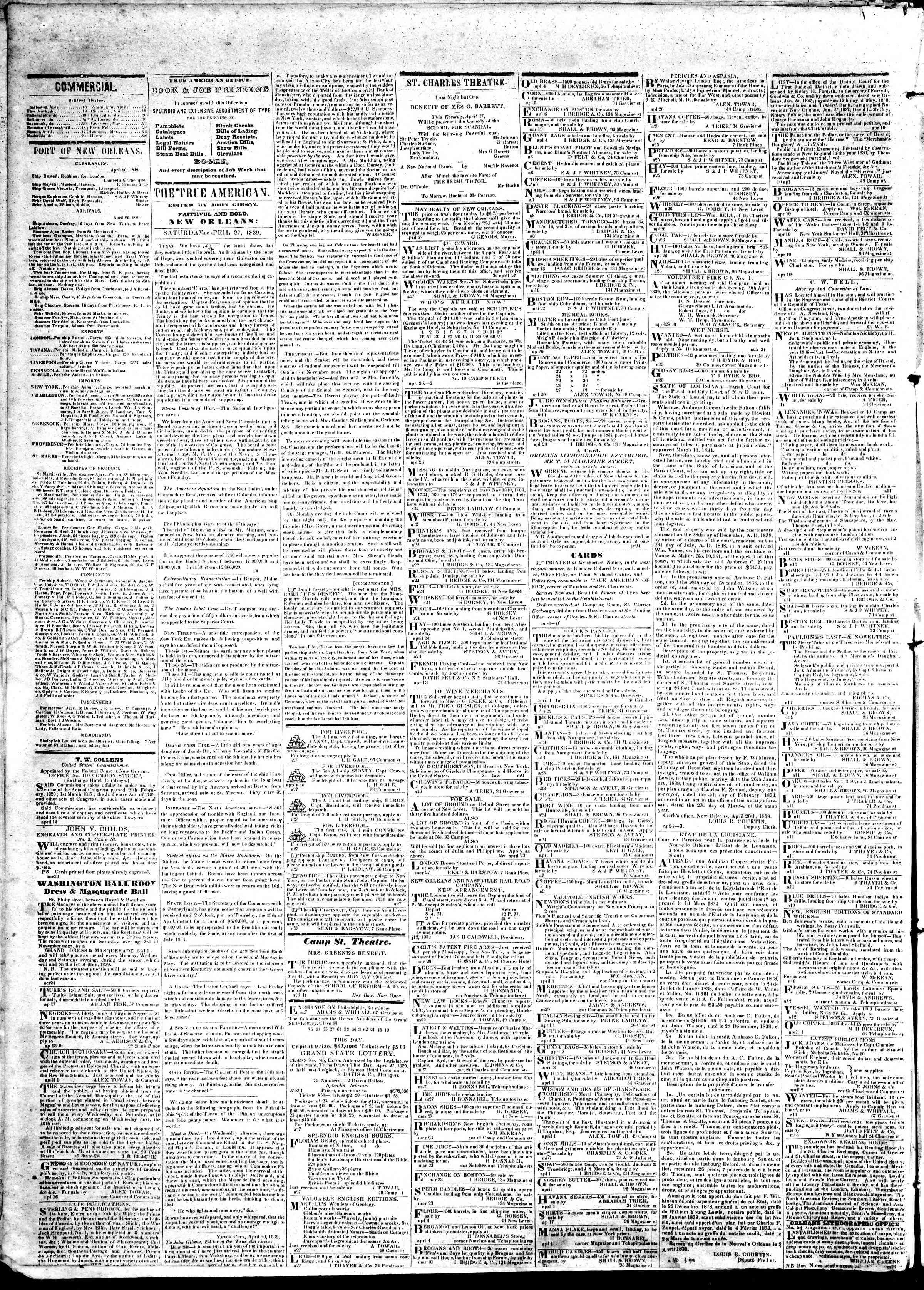 April 27, 1839 Tarihli True American Gazetesi Sayfa 2