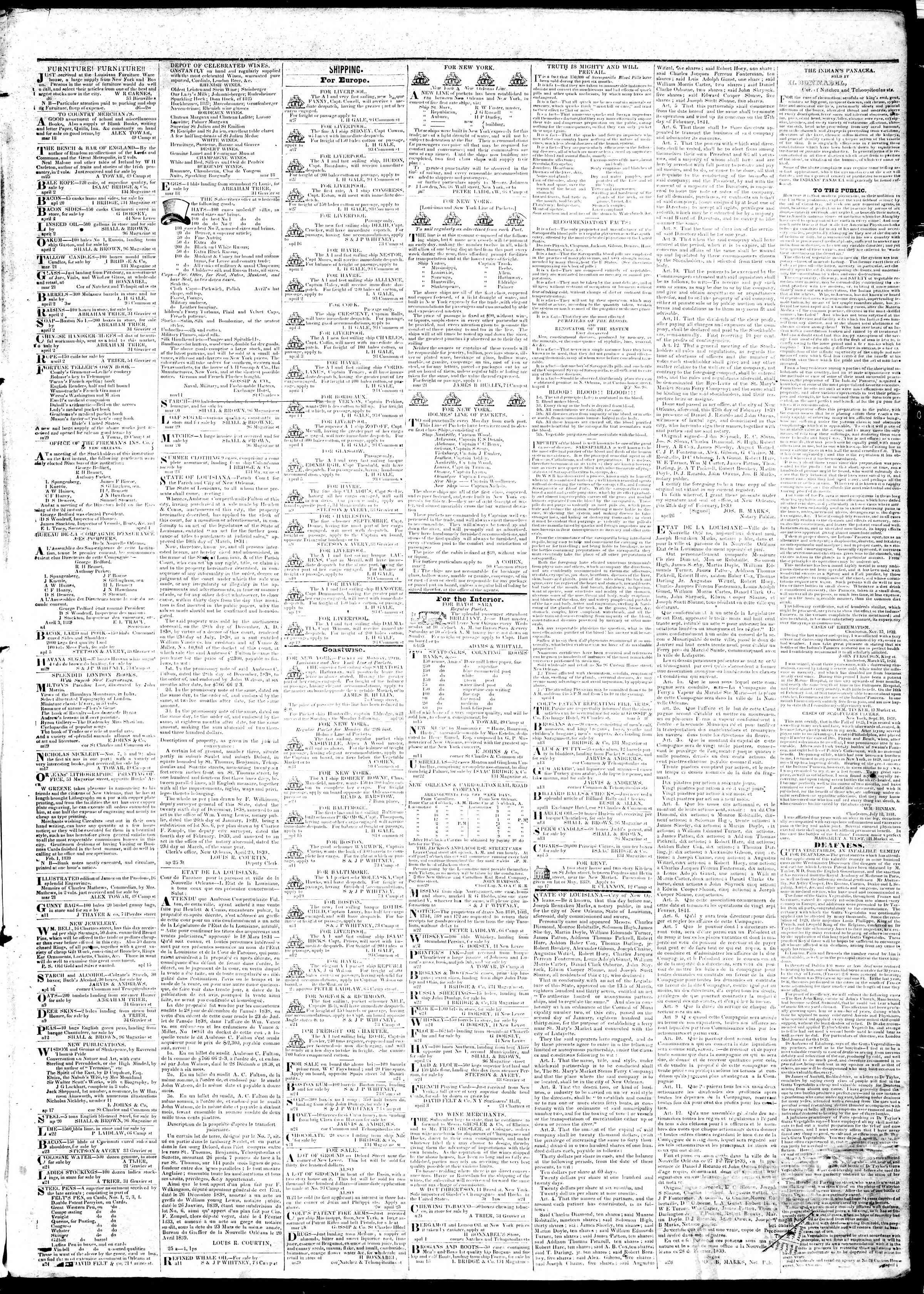 April 29, 1839 Tarihli True American Gazetesi Sayfa 3