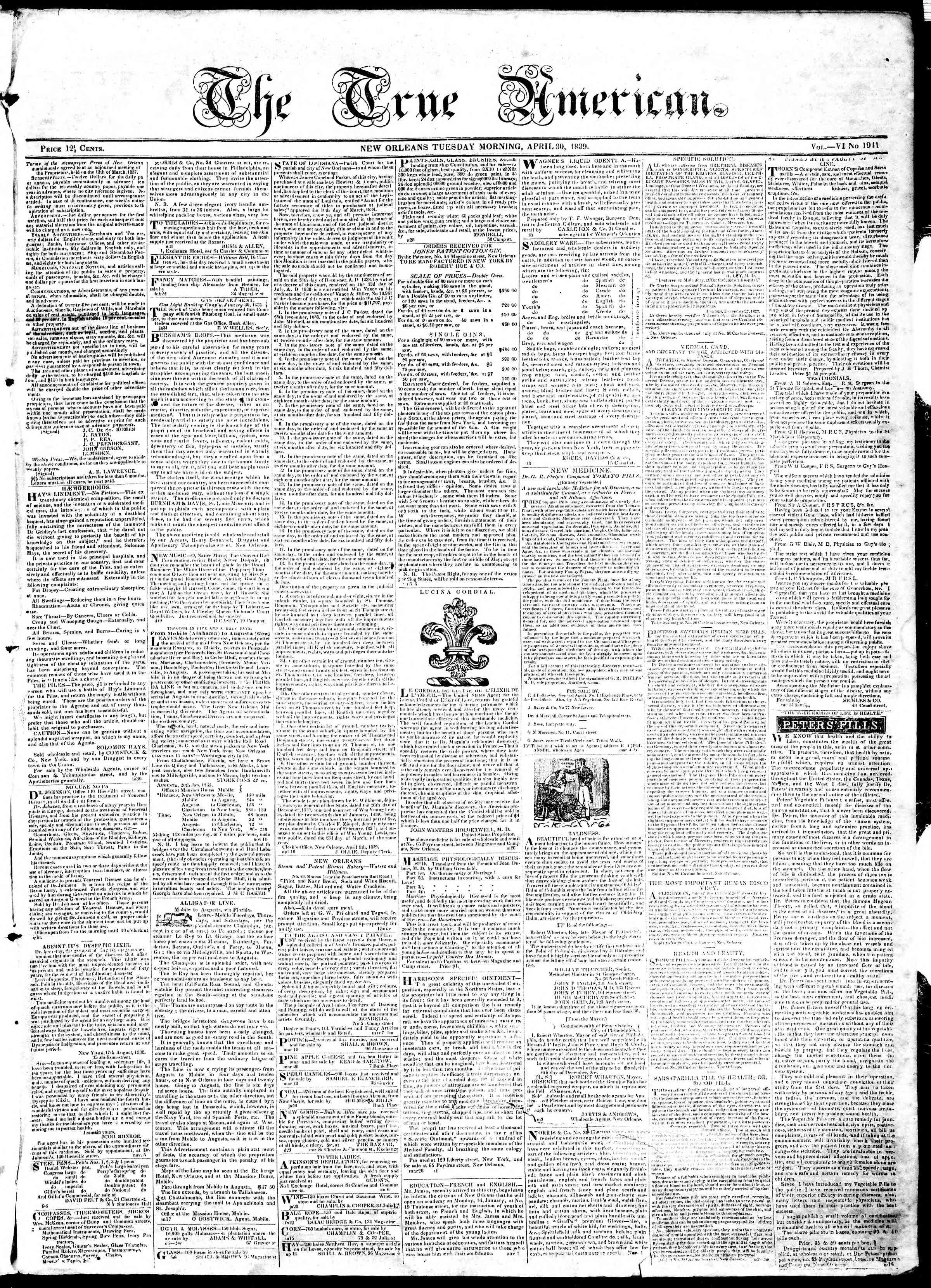 April 30, 1839 Tarihli True American Gazetesi Sayfa 1