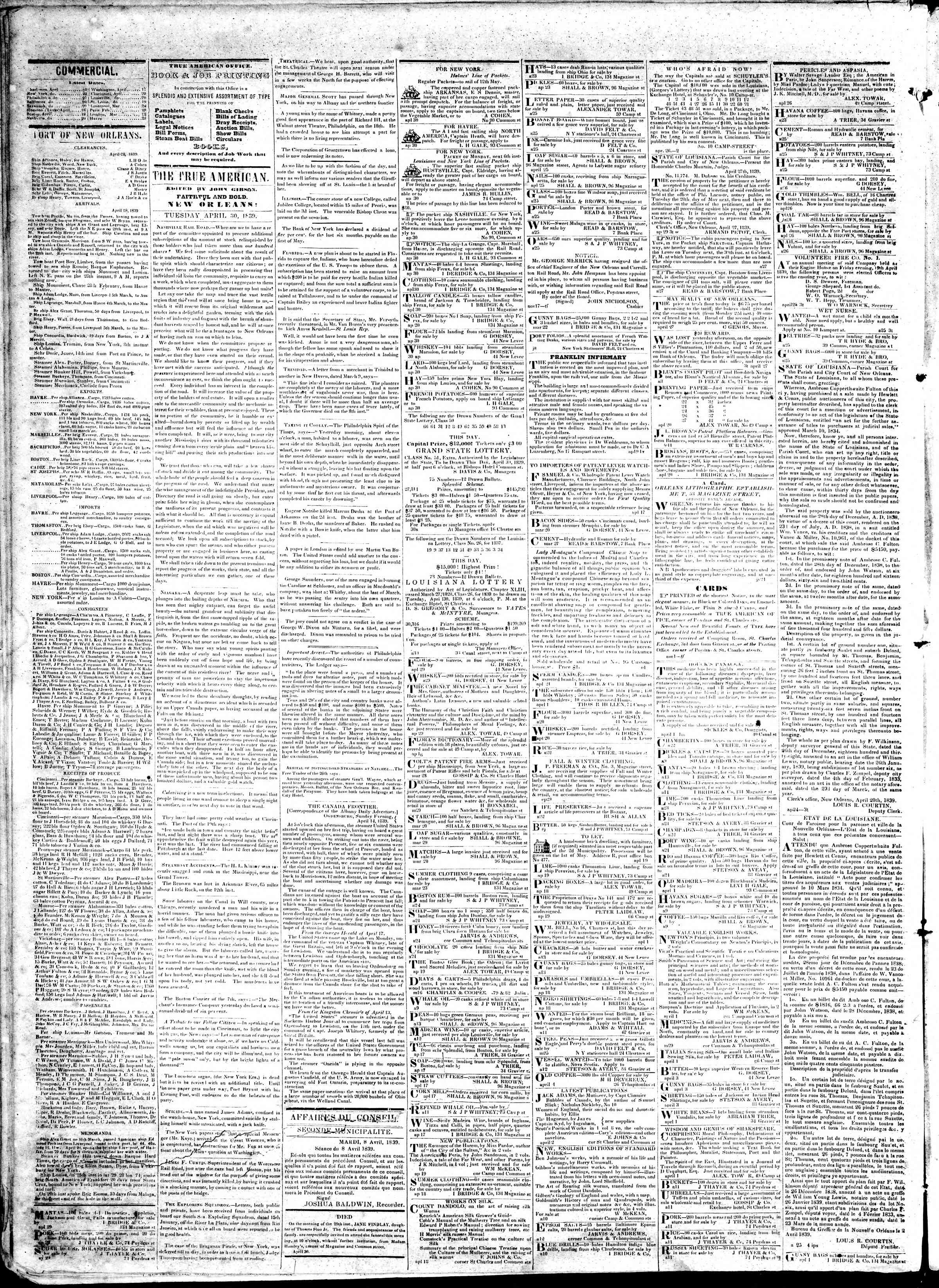 Newspaper of True American dated April 30, 1839 Page 2