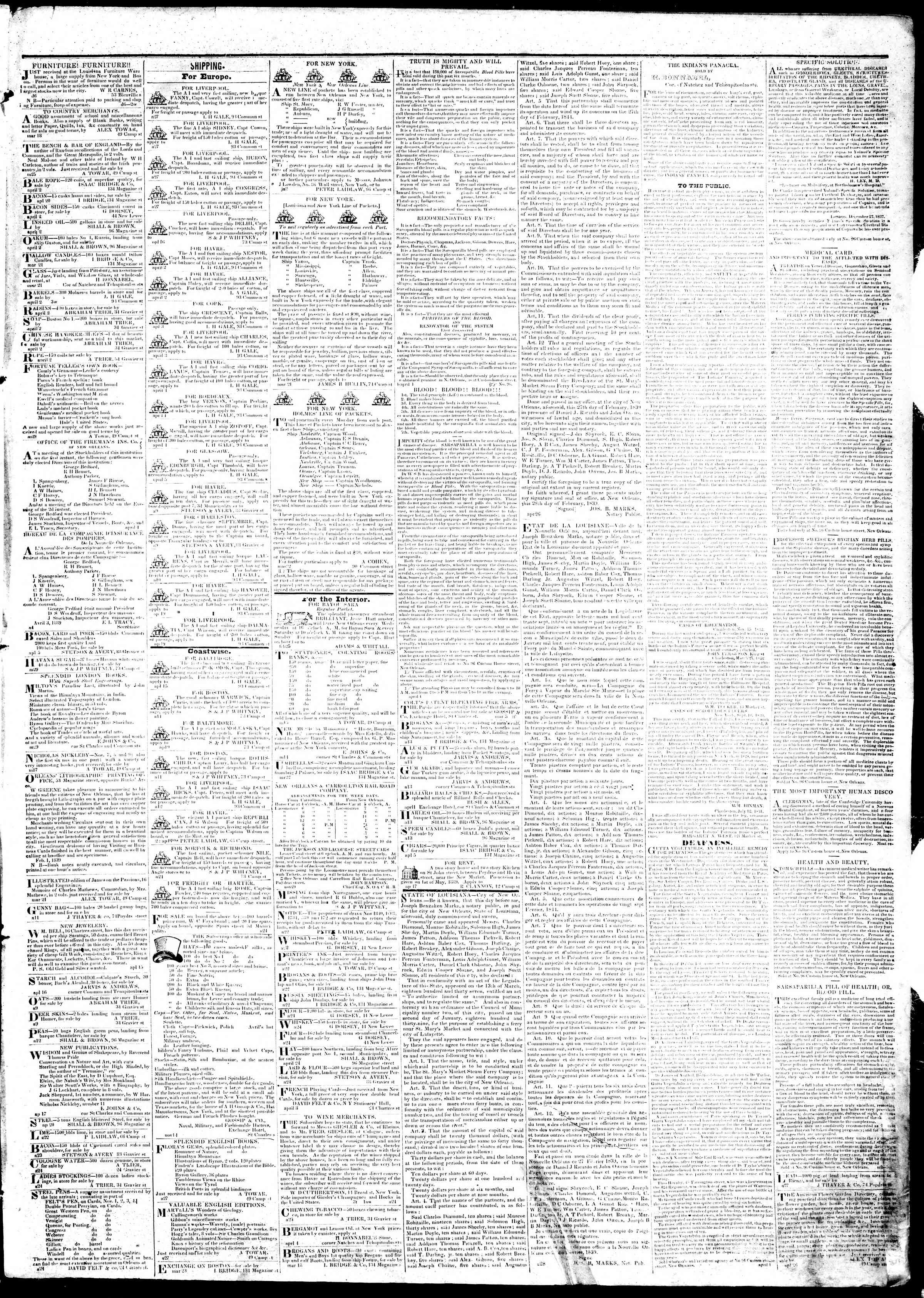 Newspaper of True American dated April 30, 1839 Page 3