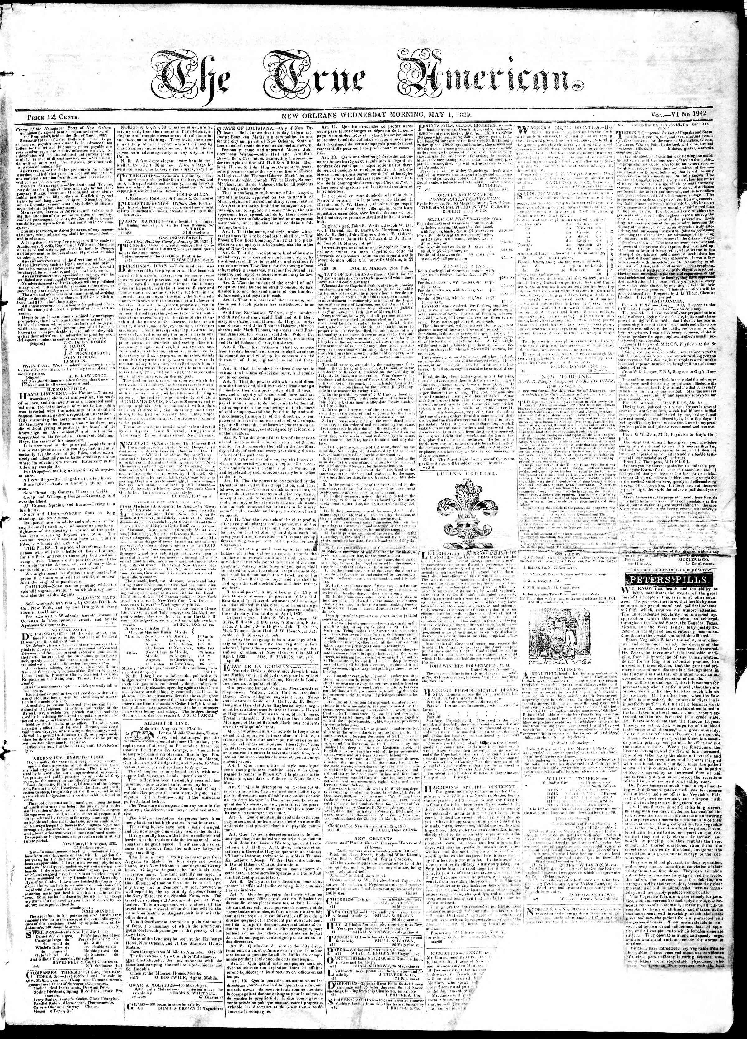 May 1, 1839 Tarihli True American Gazetesi Sayfa 1