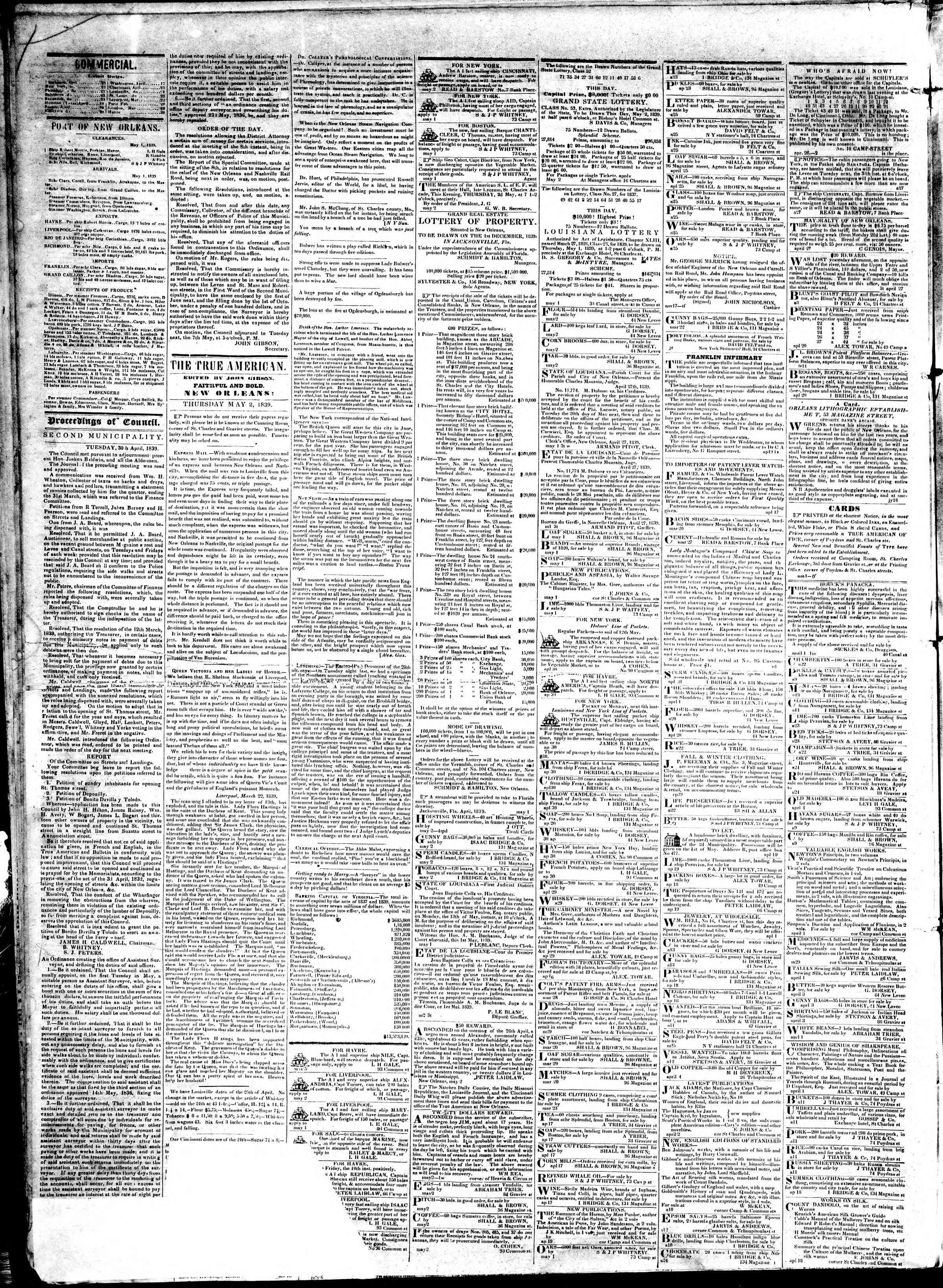May 1, 1839 Tarihli True American Gazetesi Sayfa 2