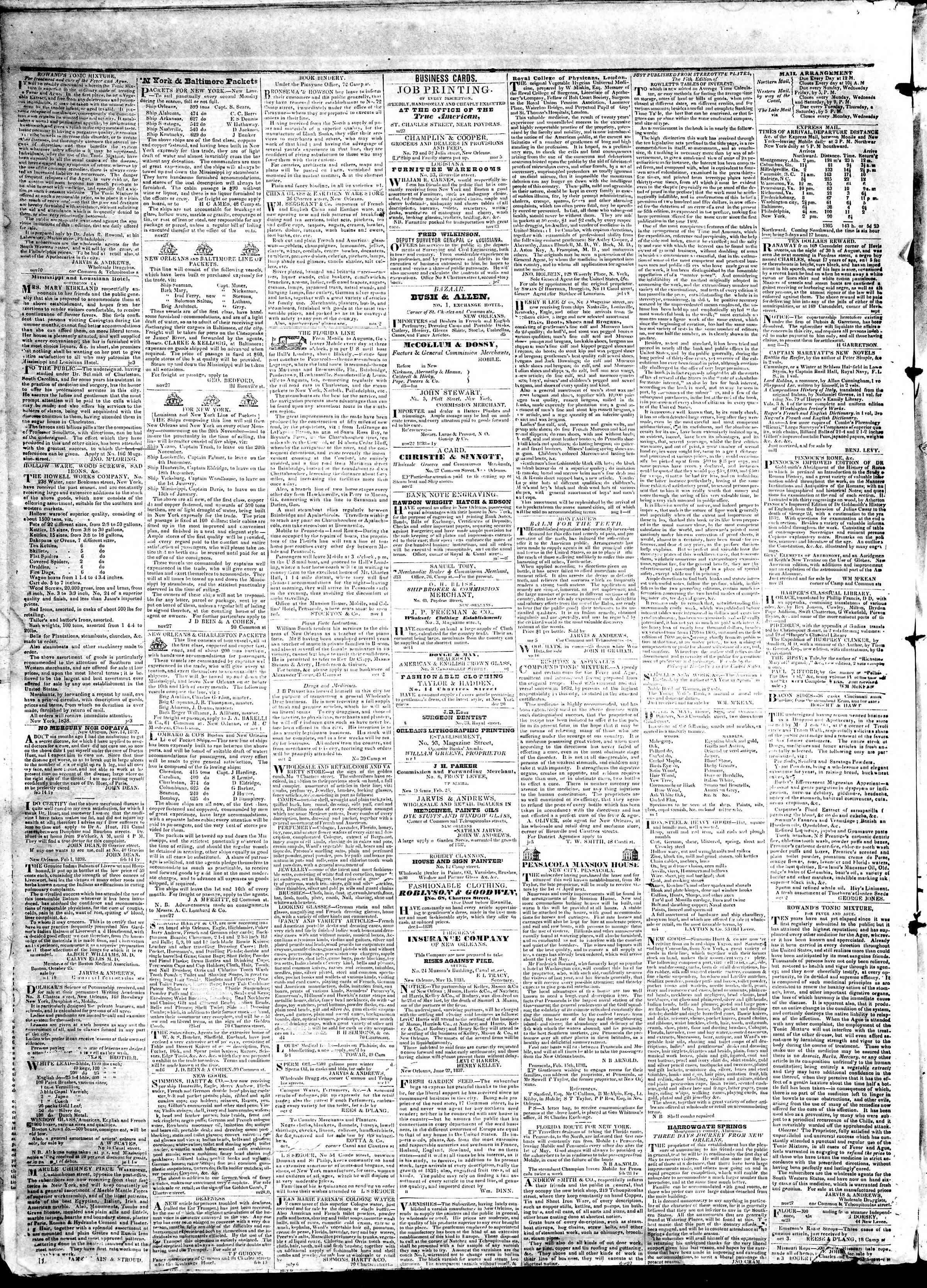 May 1, 1839 Tarihli True American Gazetesi Sayfa 4