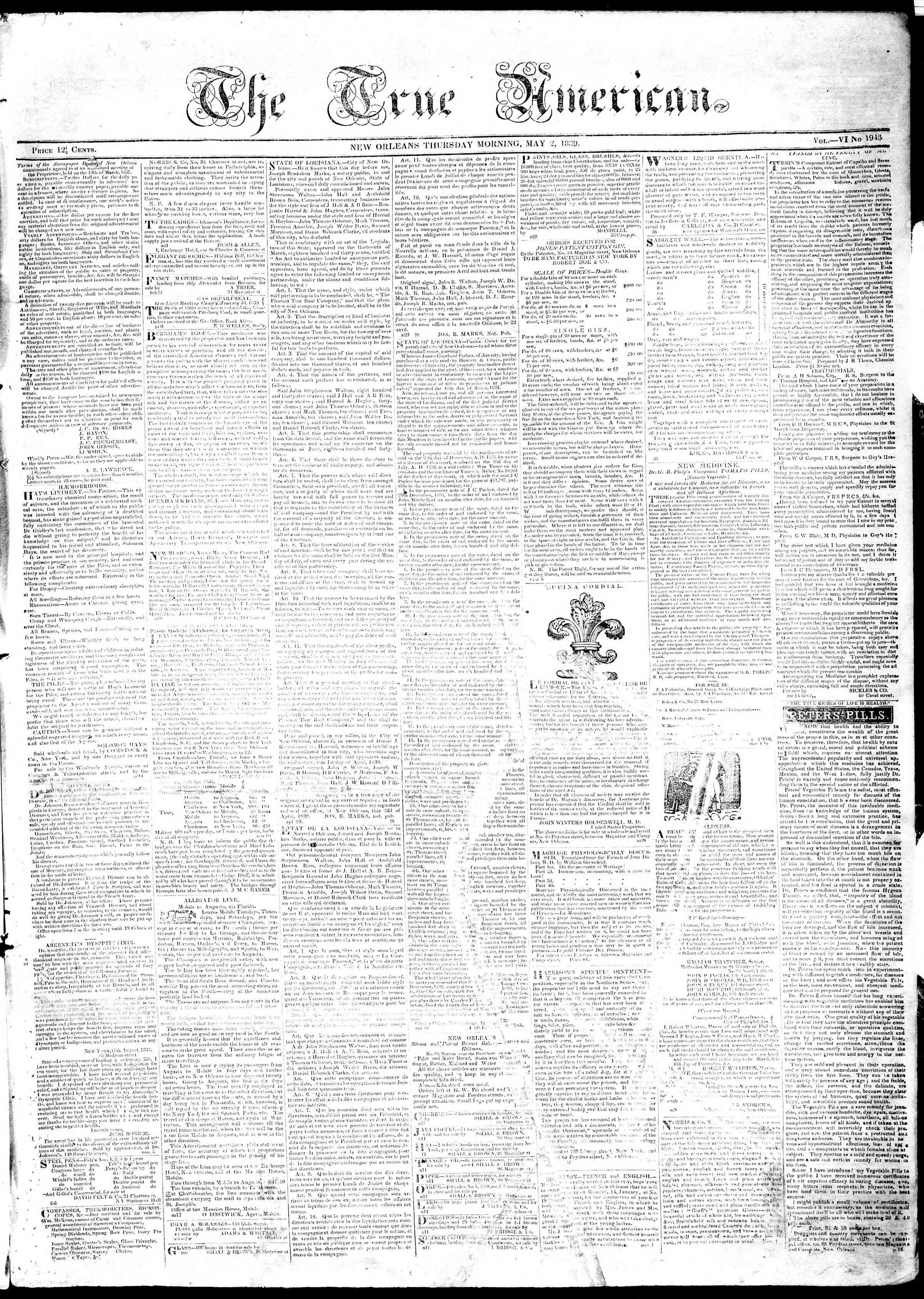 May 2, 1839 Tarihli True American Gazetesi Sayfa 1