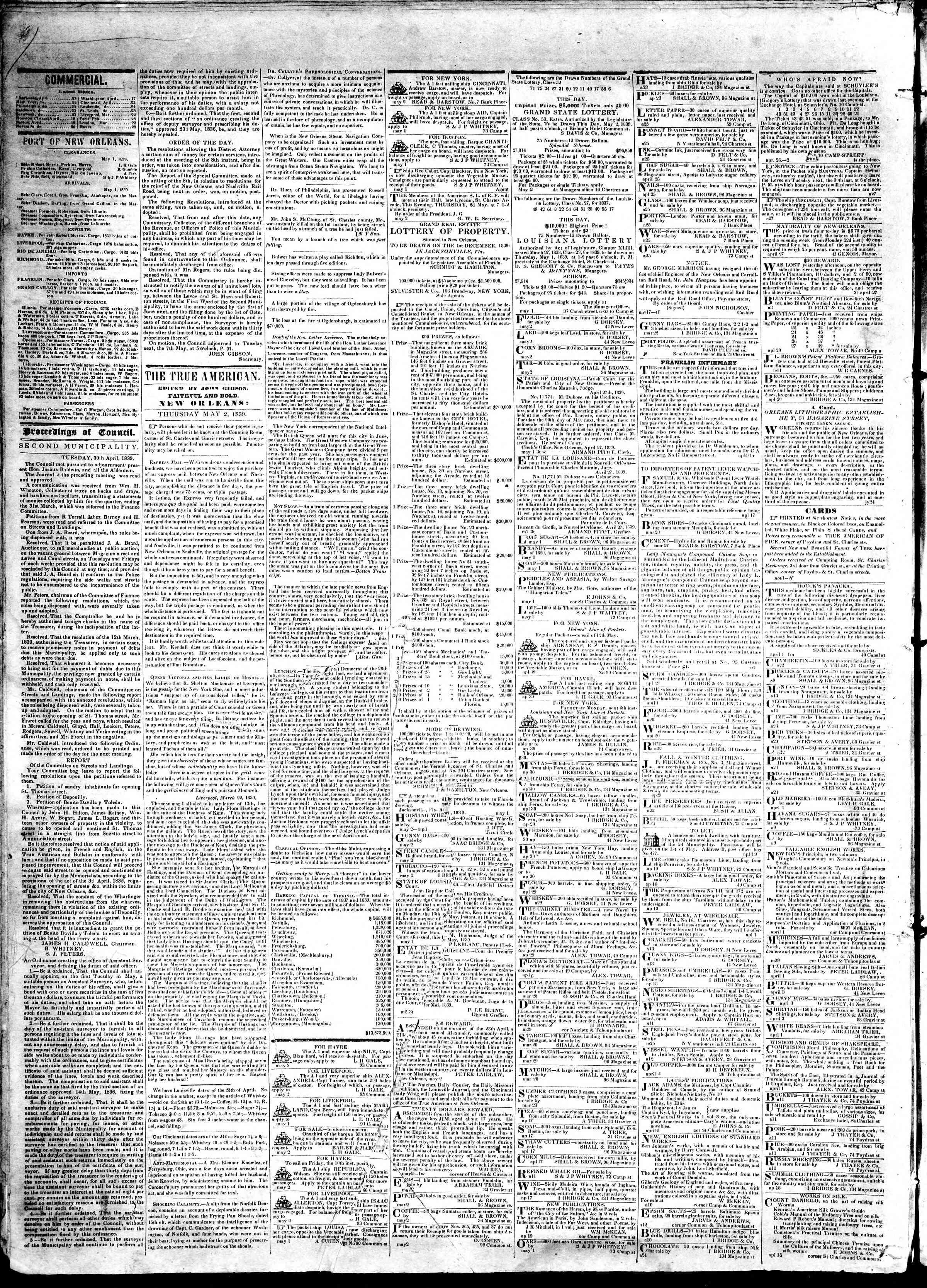 May 2, 1839 Tarihli True American Gazetesi Sayfa 2