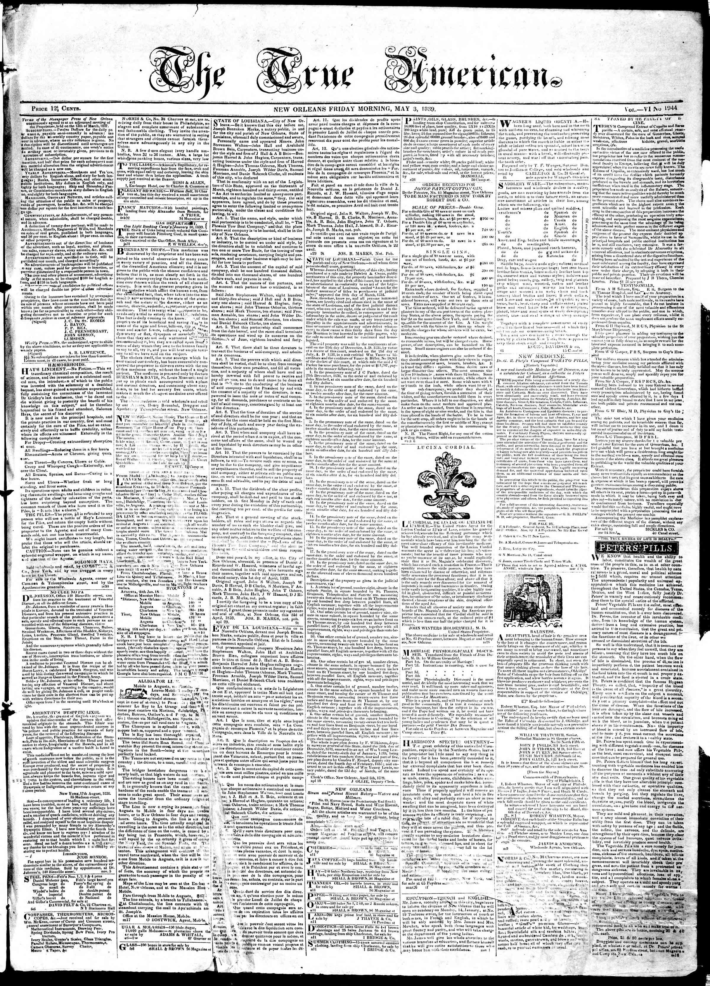 3 Mayıs 1839 tarihli True American Gazetesi Sayfa 1