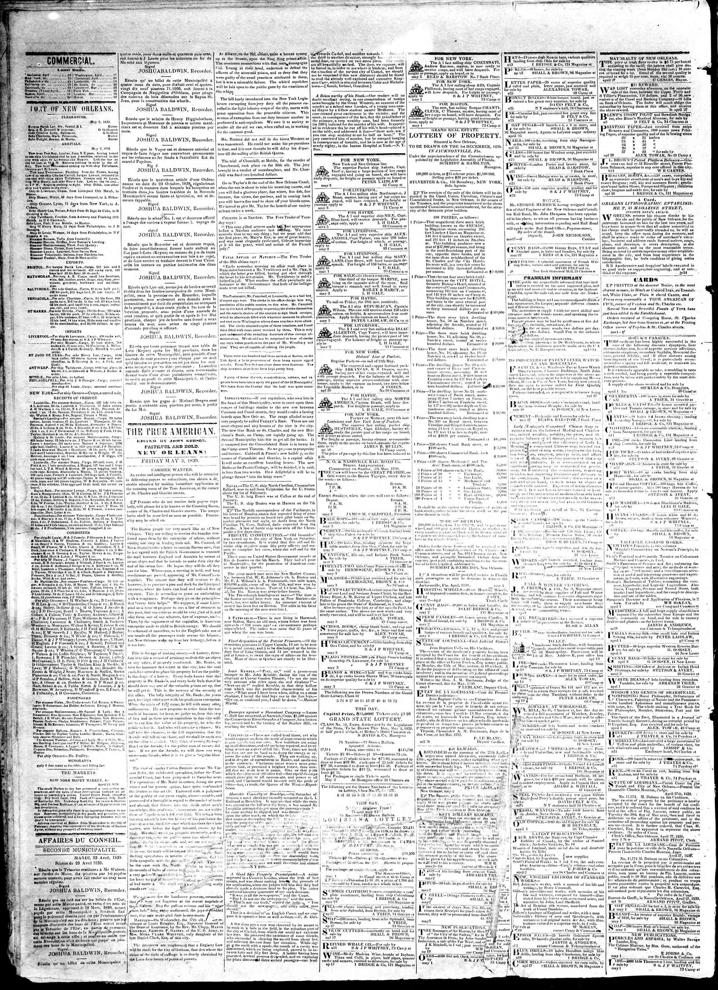 3 Mayıs 1839 Tarihli True American Gazetesi Sayfa 2