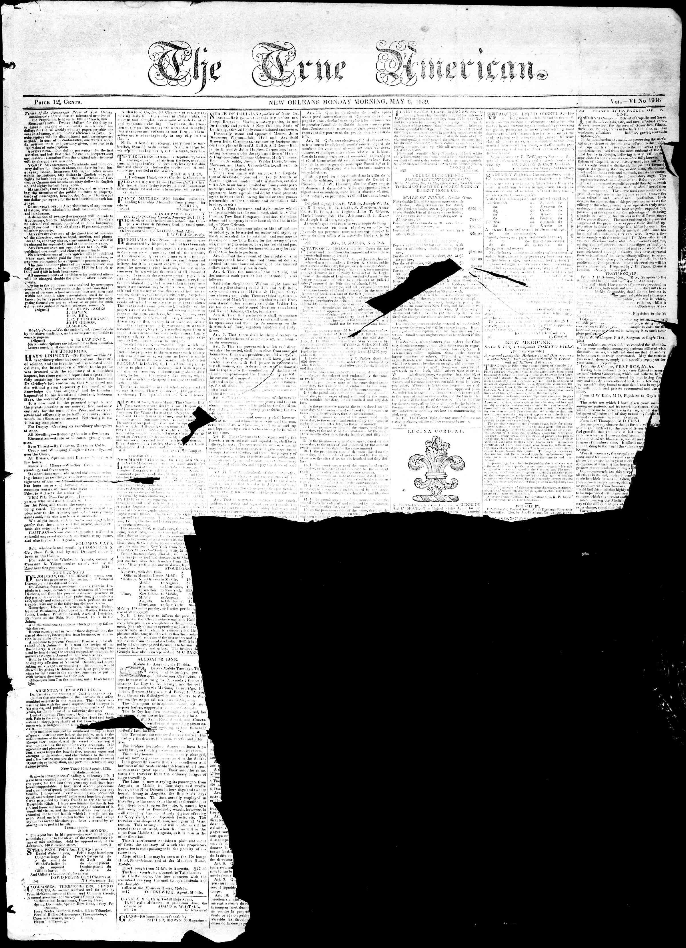 May 6, 1839 Tarihli True American Gazetesi Sayfa 1