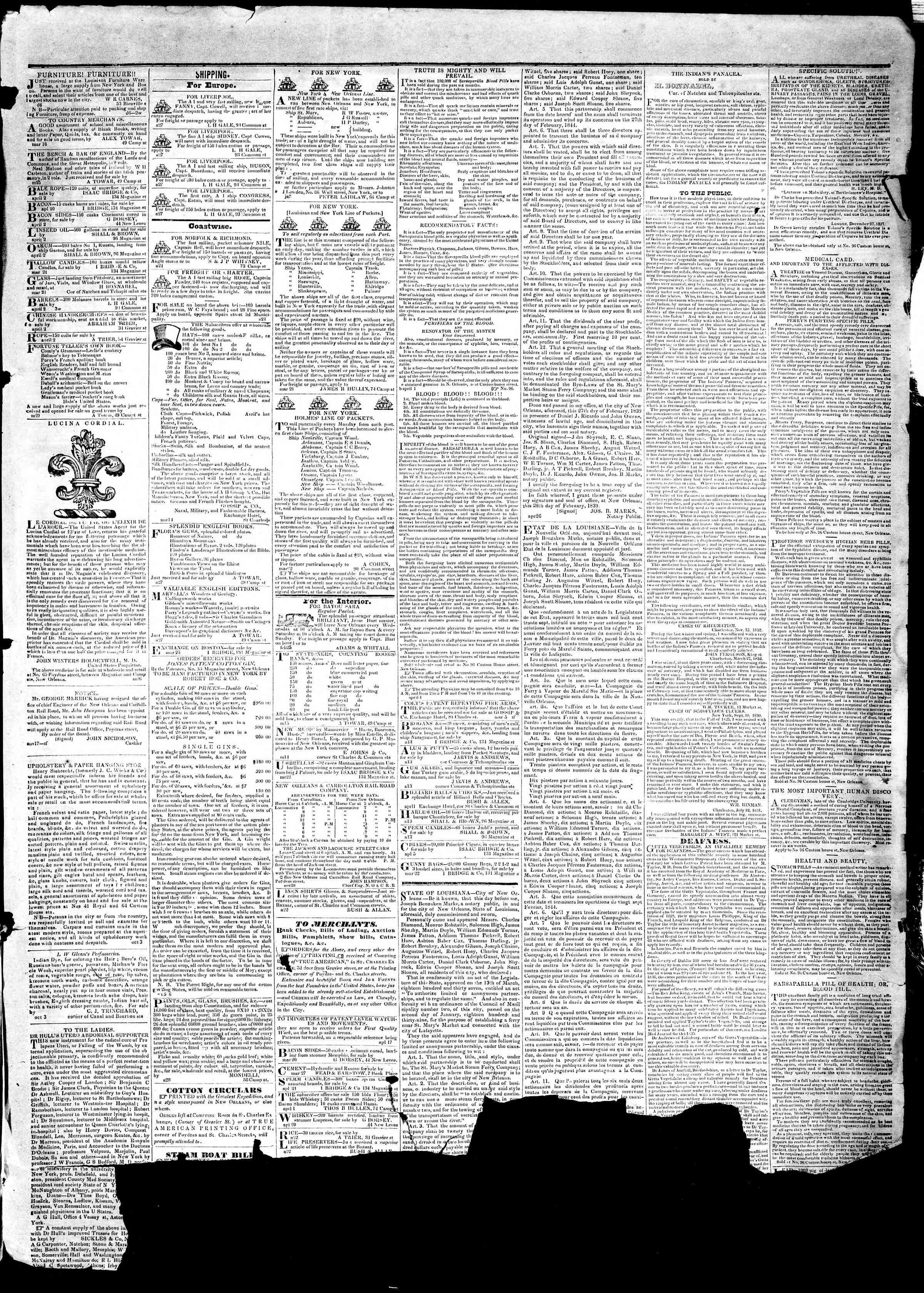 Newspaper of True American dated May 7, 1839 Page 3