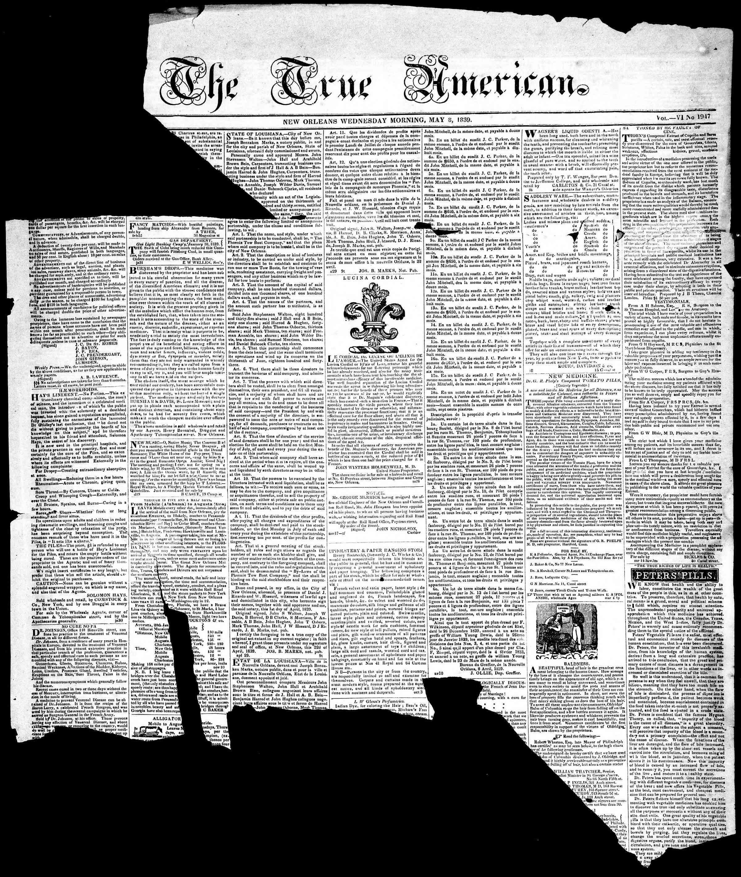 May 8, 1839 Tarihli True American Gazetesi Sayfa 1