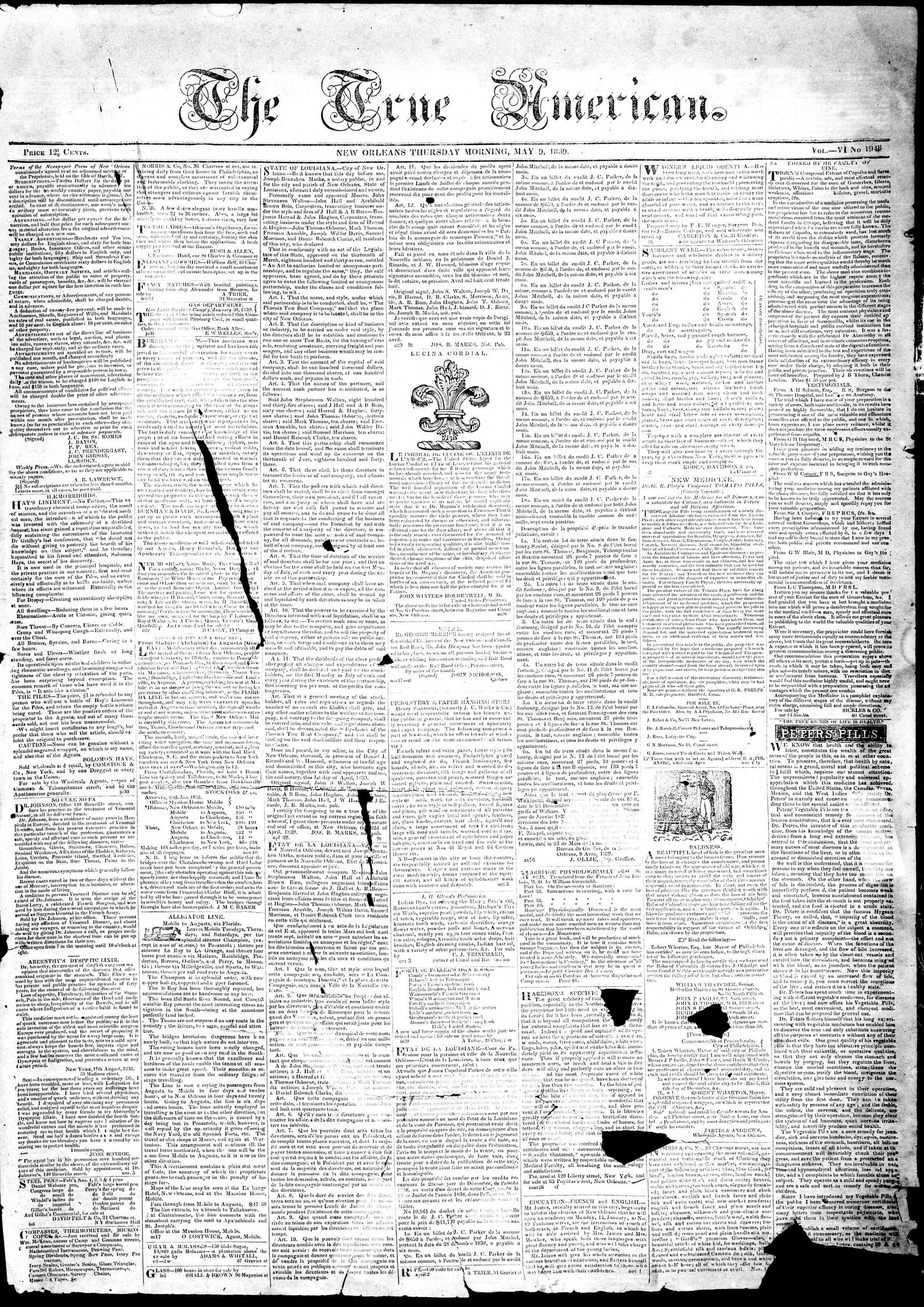 May 9, 1839 Tarihli True American Gazetesi Sayfa 1