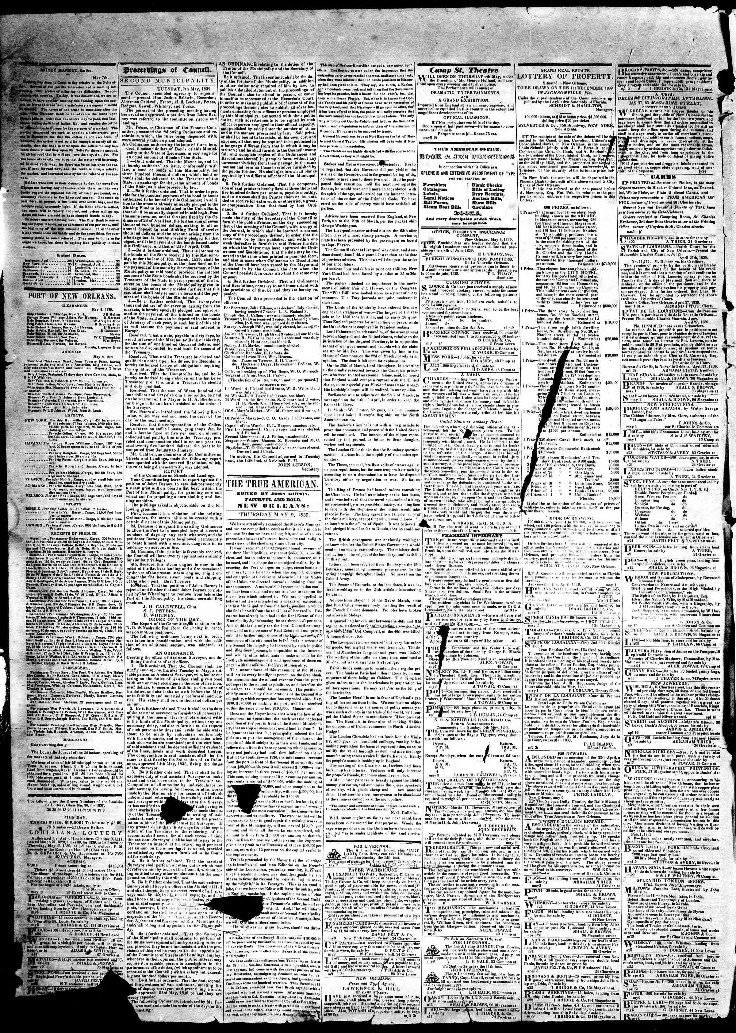 May 9, 1839 Tarihli True American Gazetesi Sayfa 2