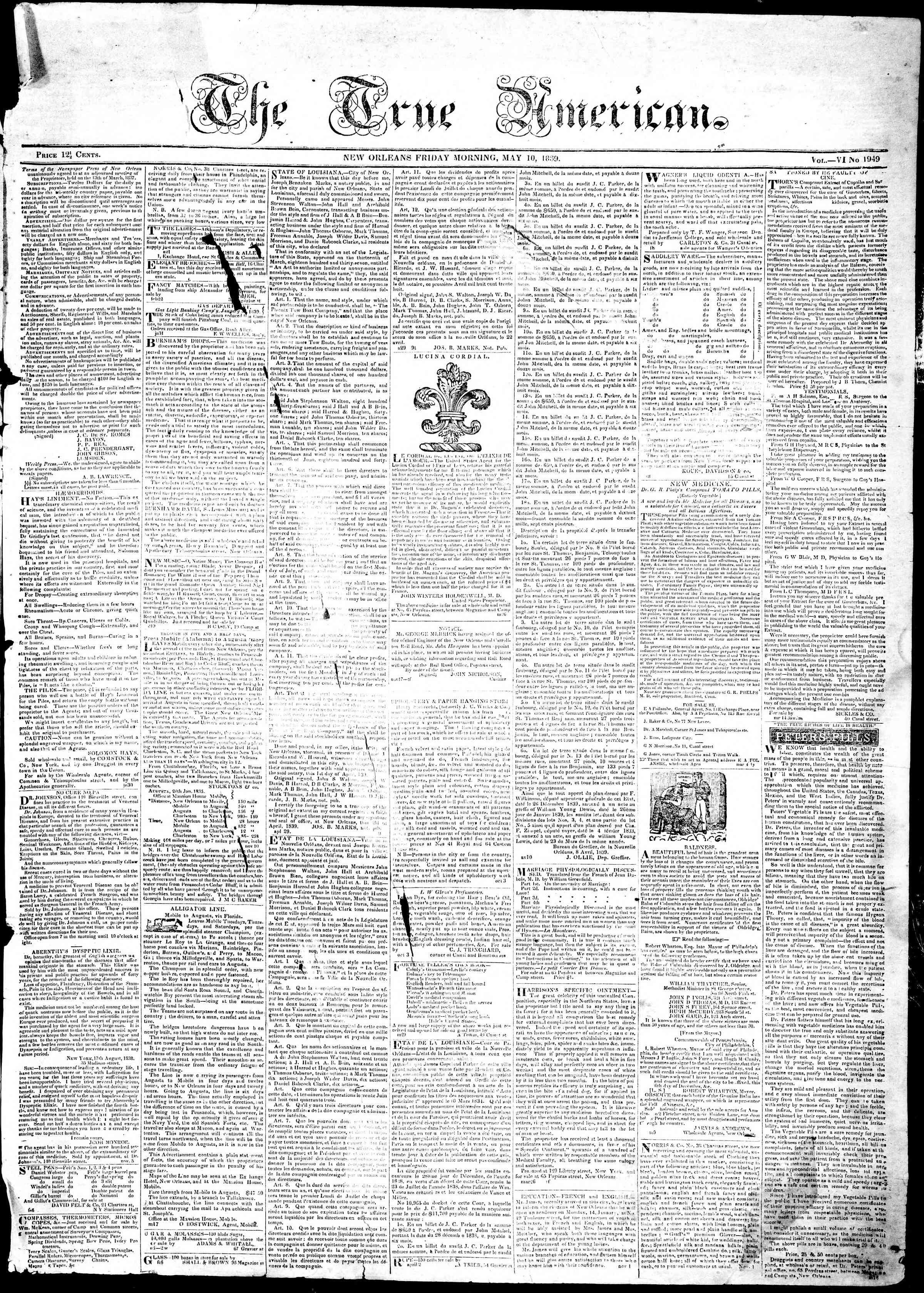 May 10, 1839 Tarihli True American Gazetesi Sayfa 1