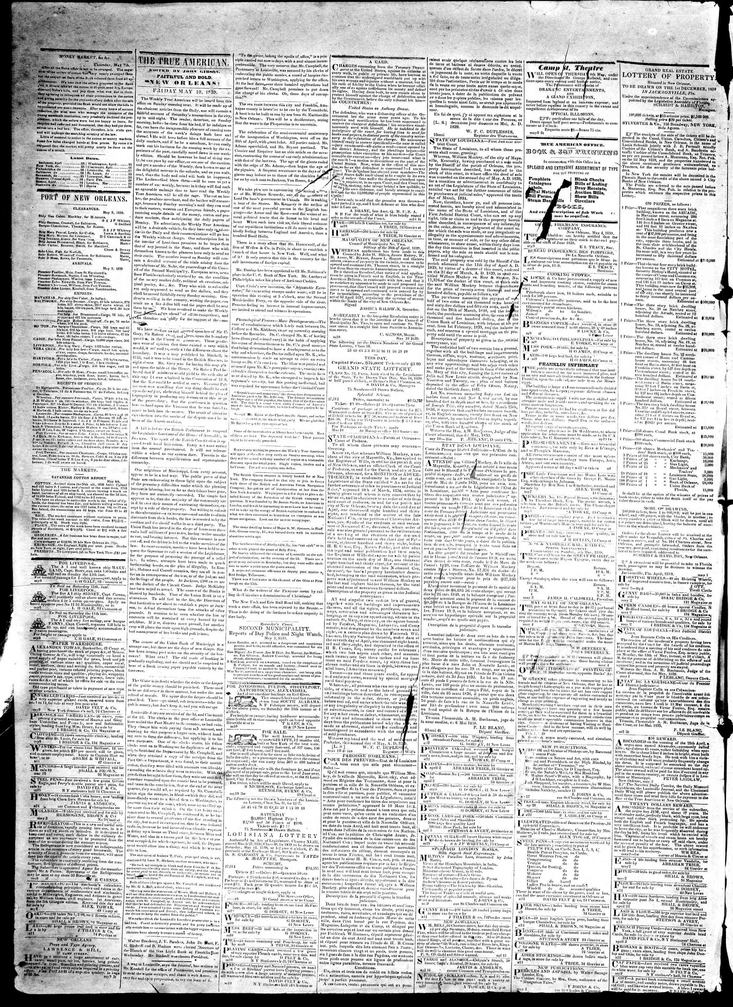 May 10, 1839 Tarihli True American Gazetesi Sayfa 2