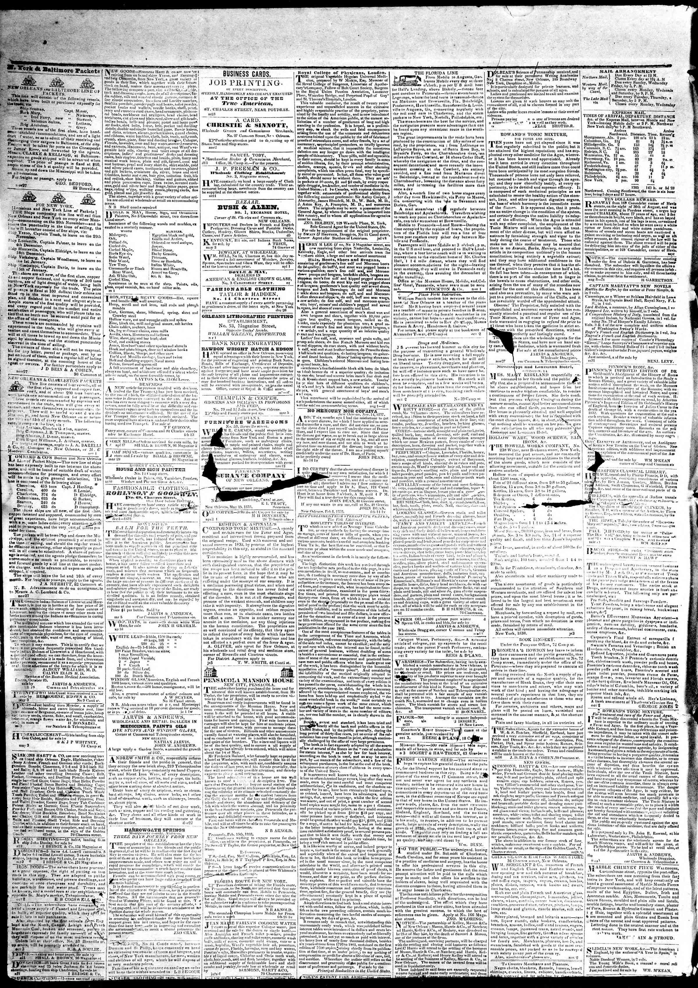 May 10, 1839 Tarihli True American Gazetesi Sayfa 4