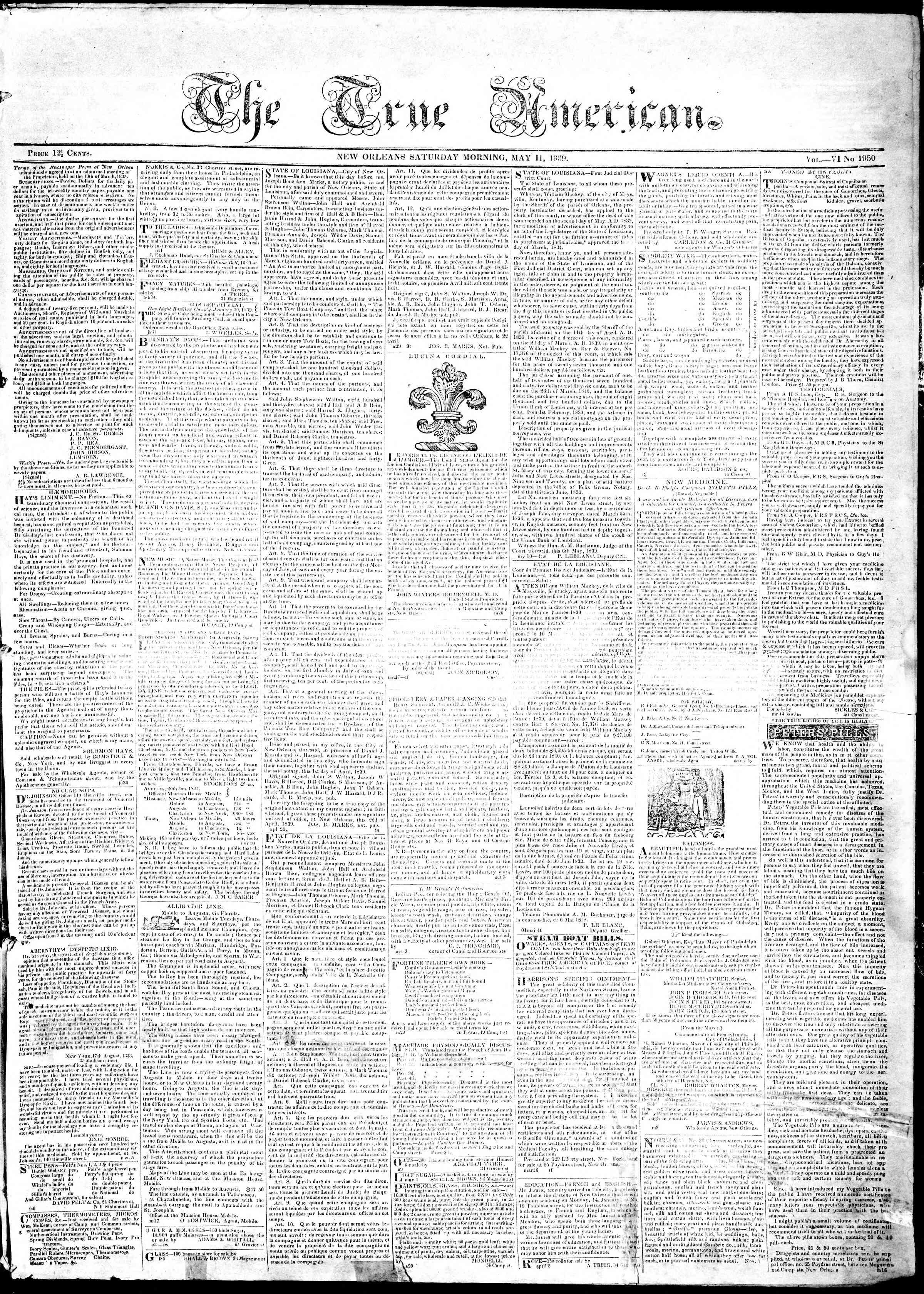 May 11, 1839 Tarihli True American Gazetesi Sayfa 1