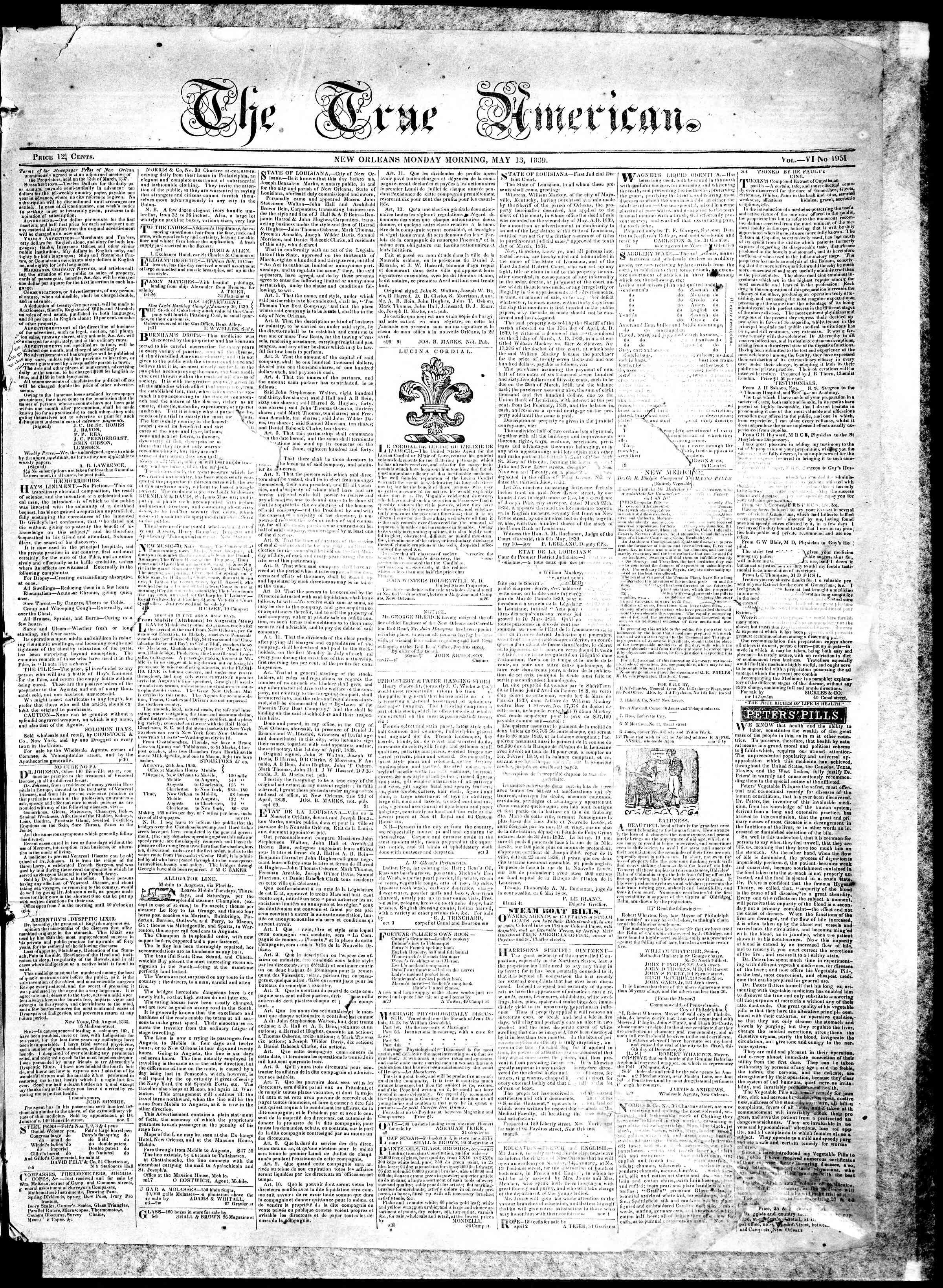 May 13, 1839 Tarihli True American Gazetesi Sayfa 1