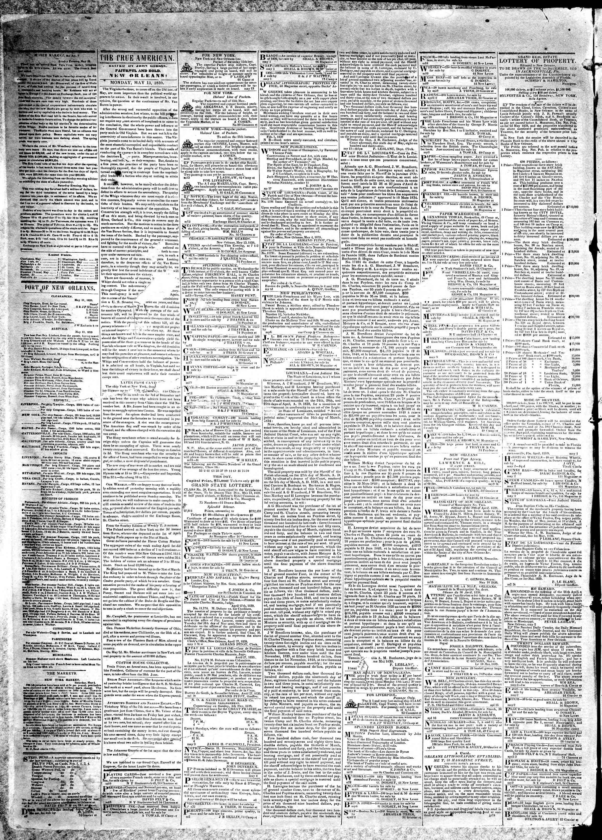 May 13, 1839 Tarihli True American Gazetesi Sayfa 2