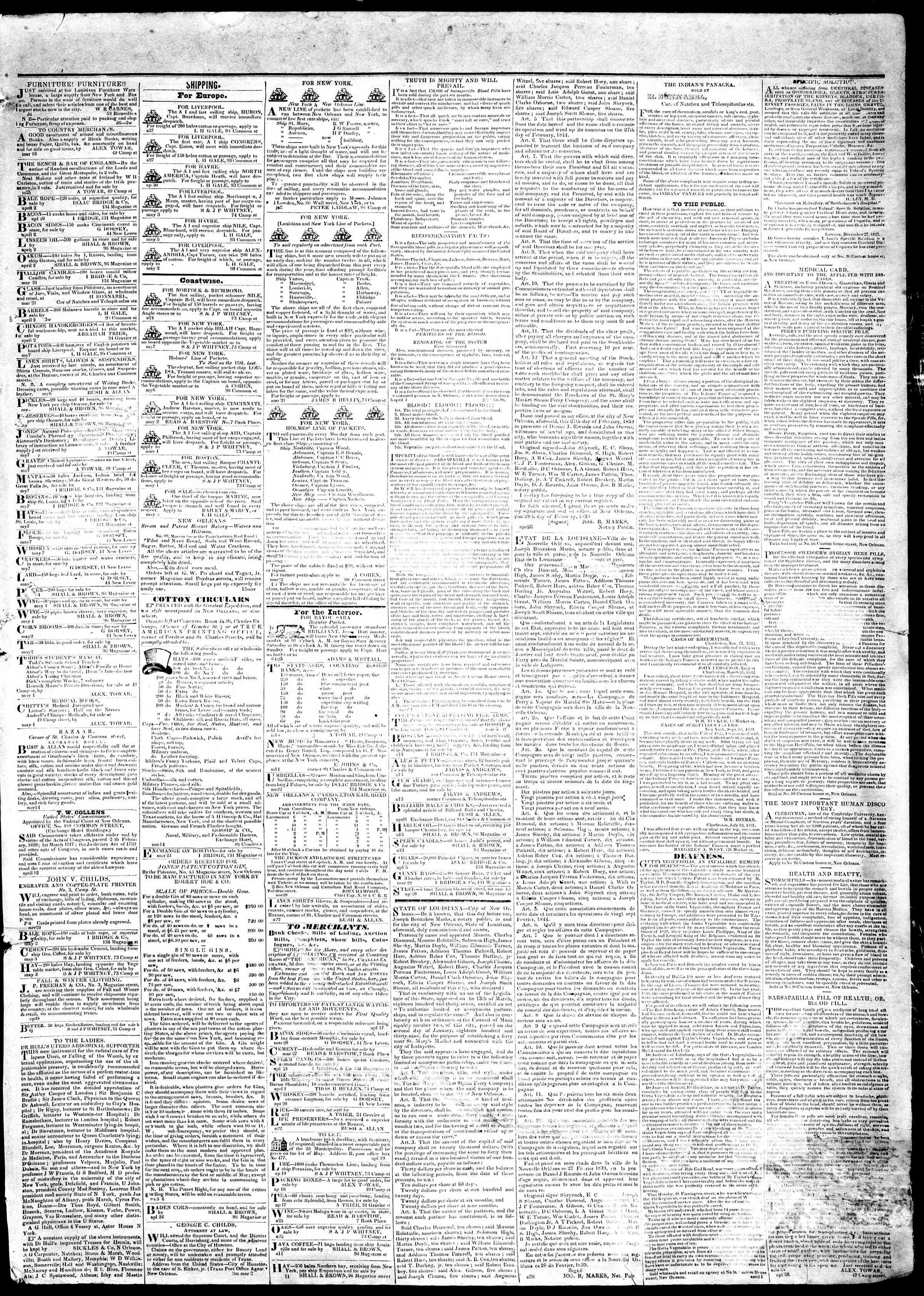 Newspaper of True American dated May 13, 1839 Page 3