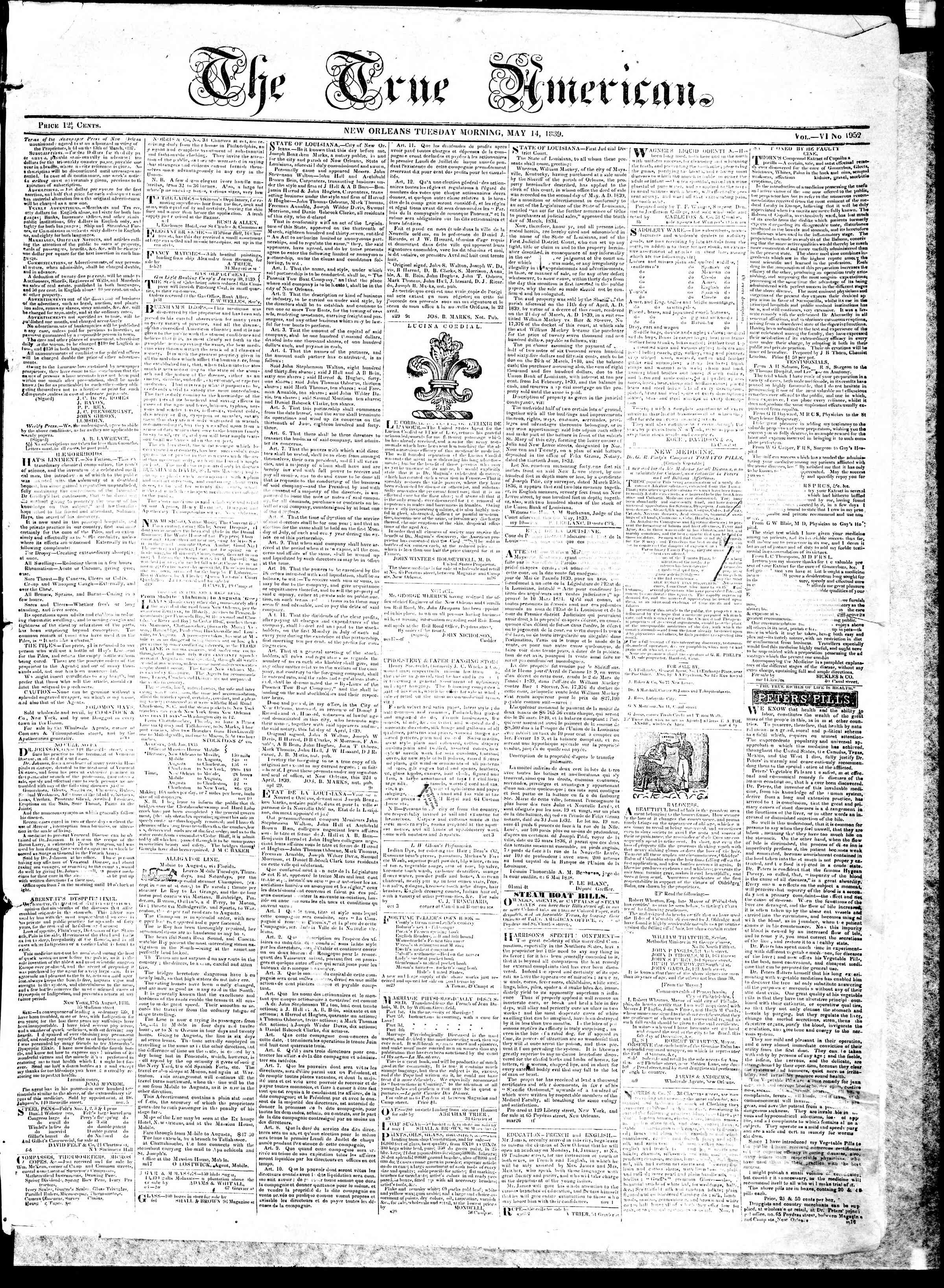 Newspaper of True American dated May 14, 1839 Page 1