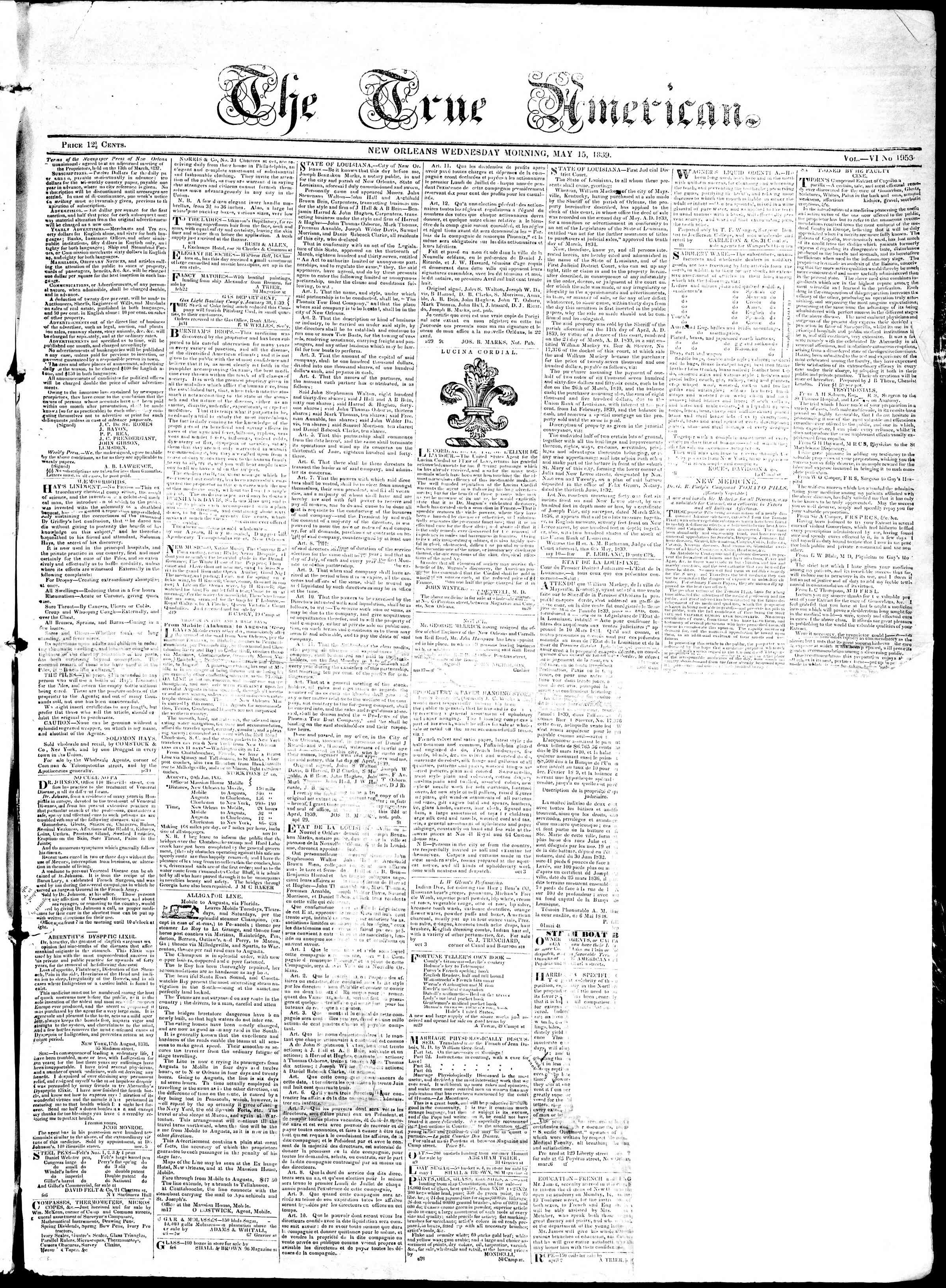 Newspaper of True American dated May 15, 1839 Page 1