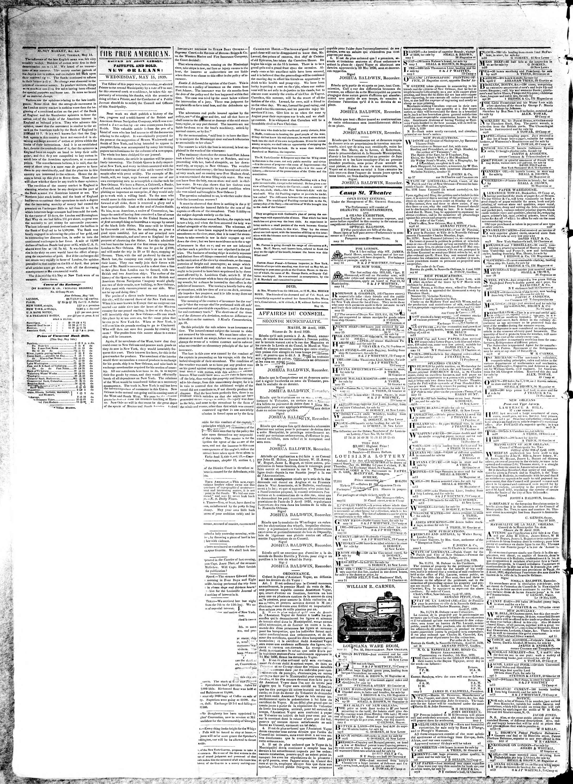 Newspaper of True American dated May 15, 1839 Page 2